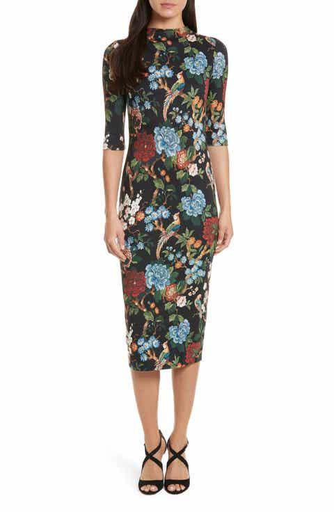Alice + Olivia Delora Print Fitted Midi Dress