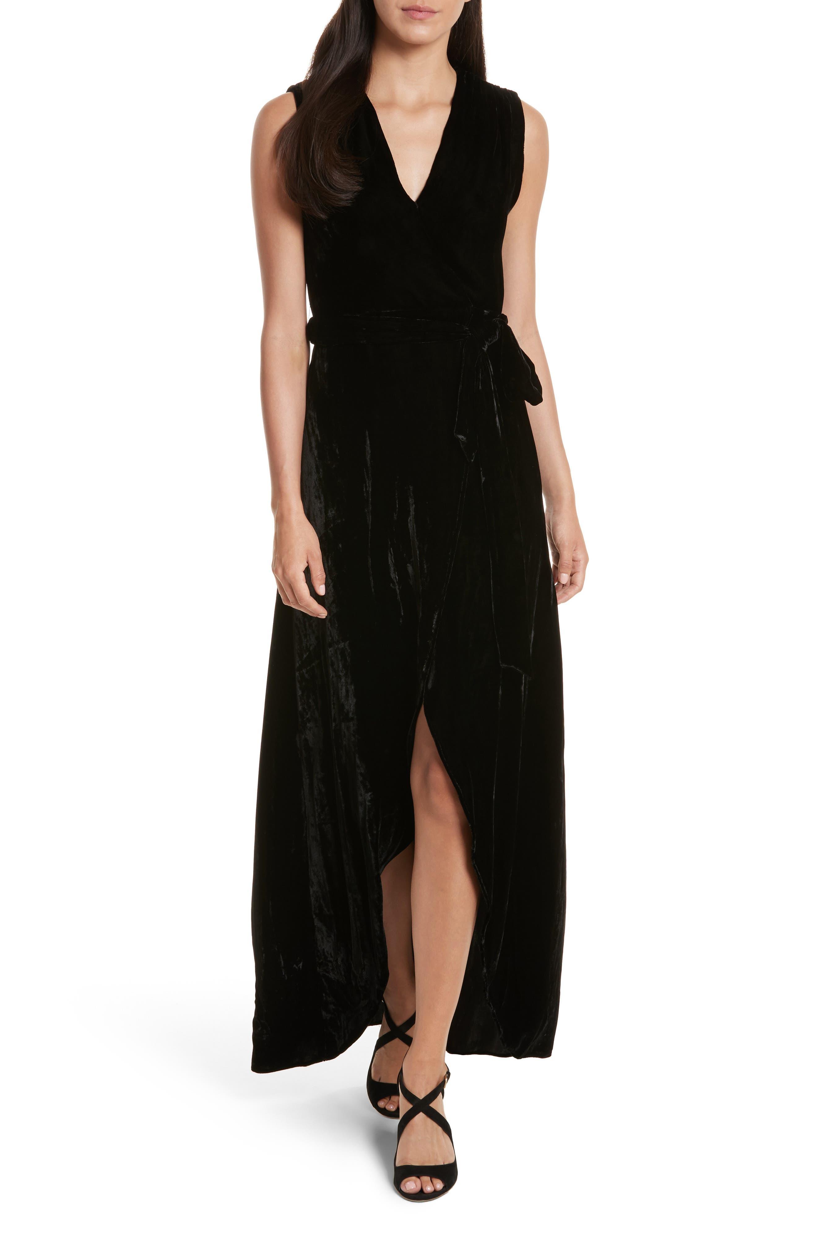 Simmons Velvet Wrap Maxi Dress,                         Main,                         color, Black