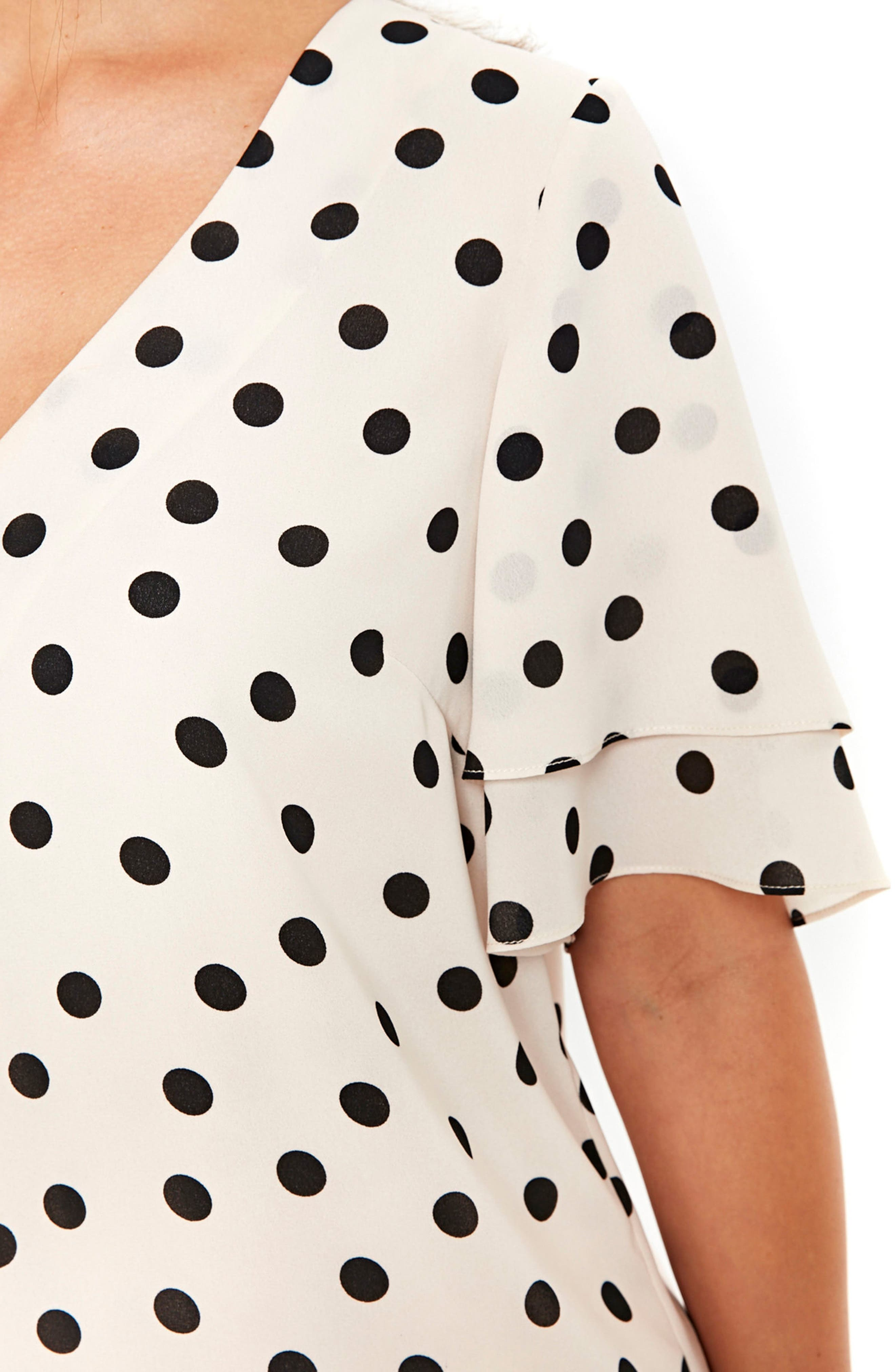 Spot Double Sleeve Top,                             Alternate thumbnail 4, color,                             Ivory/ Black