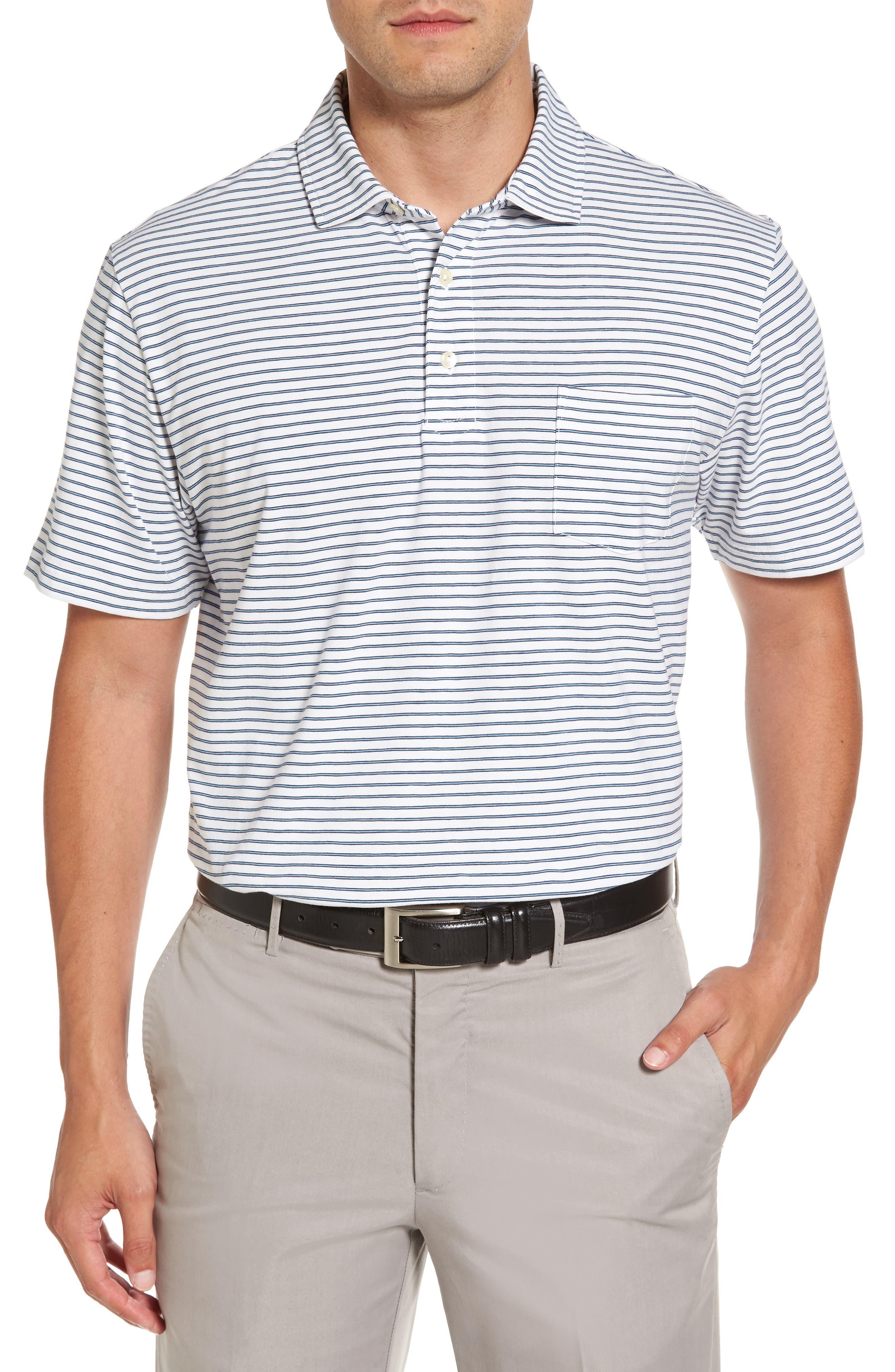 Stratton Mountainside Stripe Jersey Polo,                         Main,                         color, White