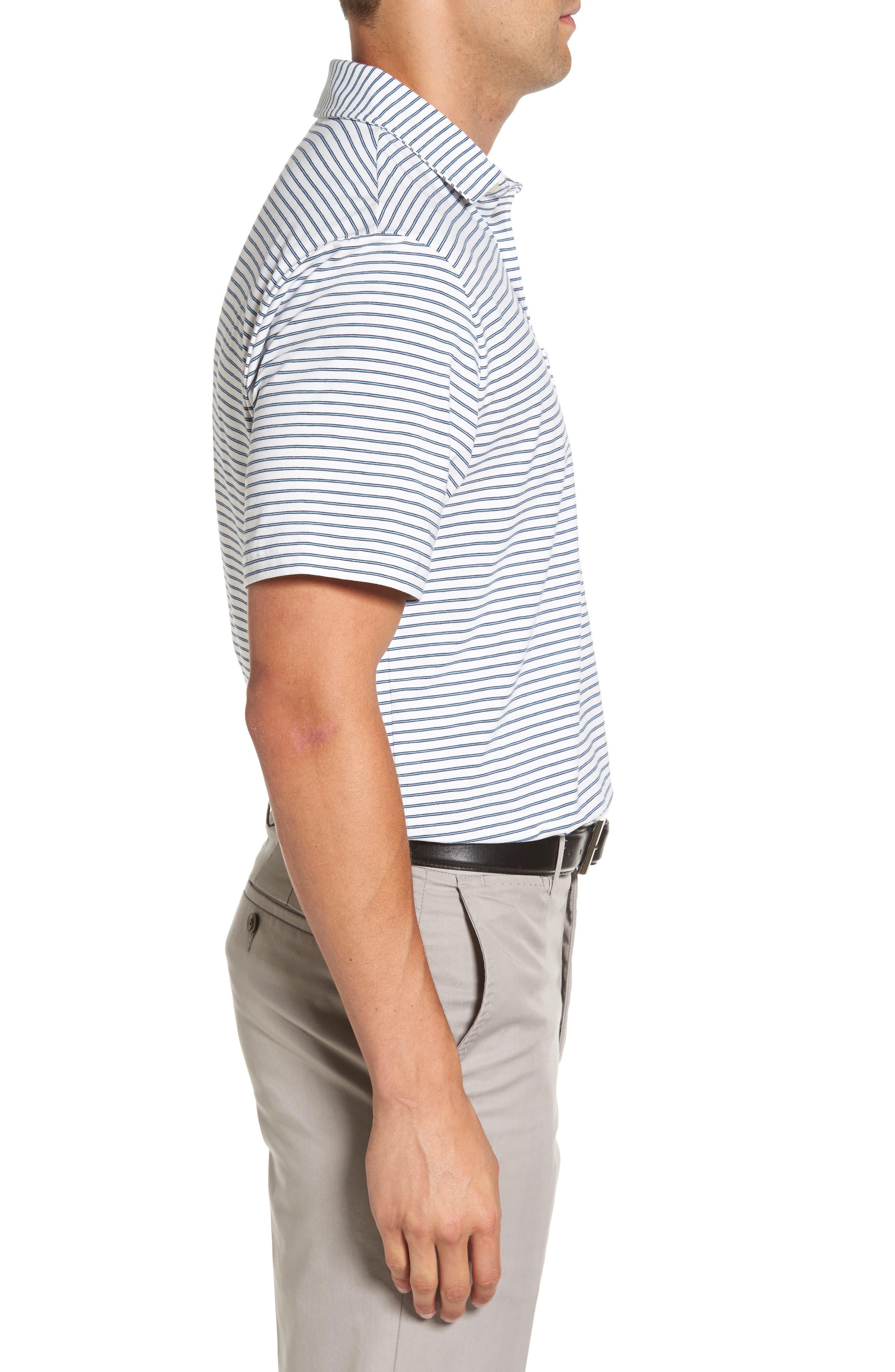 Stratton Mountainside Stripe Jersey Polo,                             Alternate thumbnail 3, color,                             White