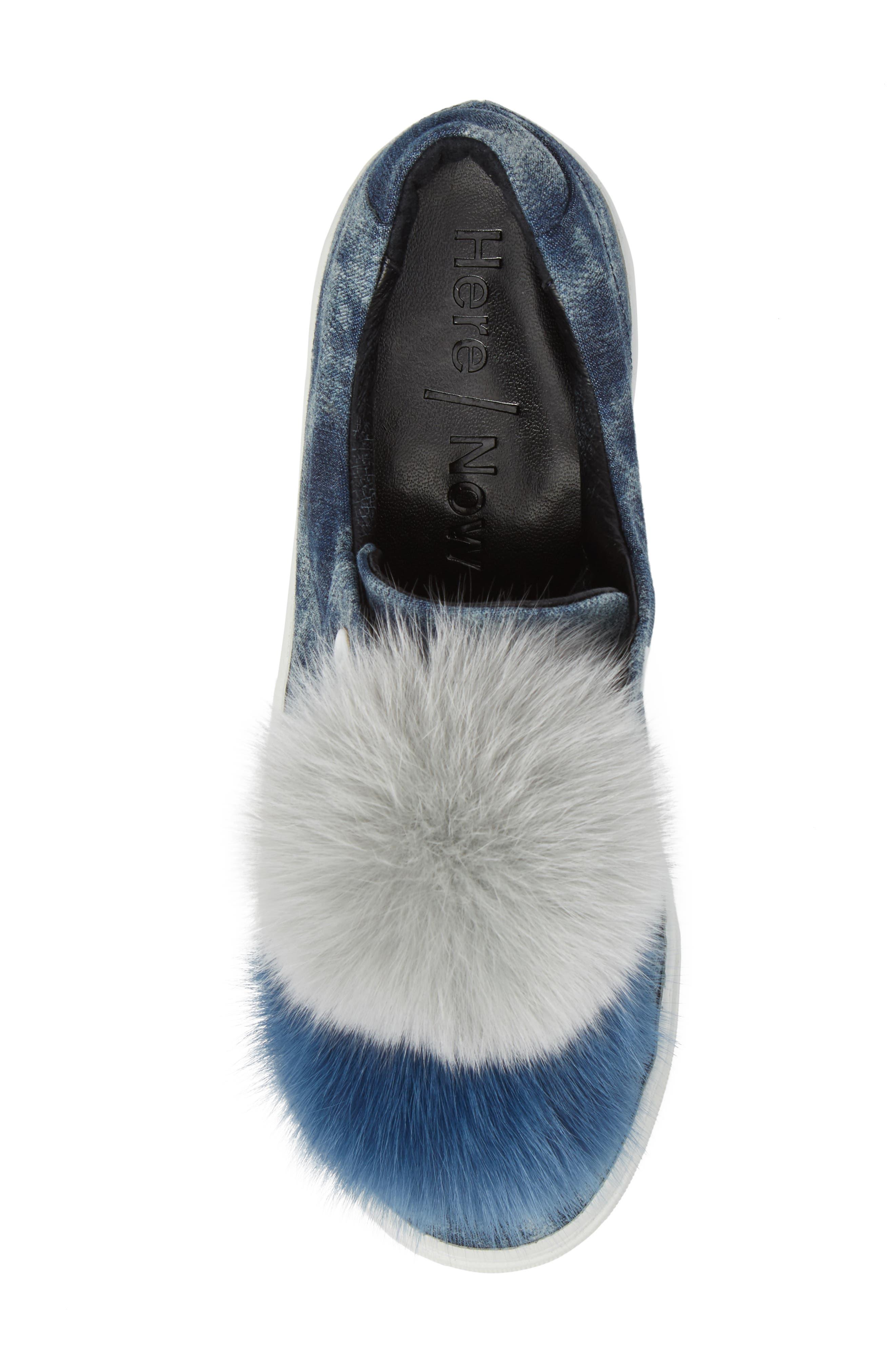 Joey Genuine Fox Fur Trim Sneaker,                             Alternate thumbnail 4, color,                             Blue Tiedye Denim