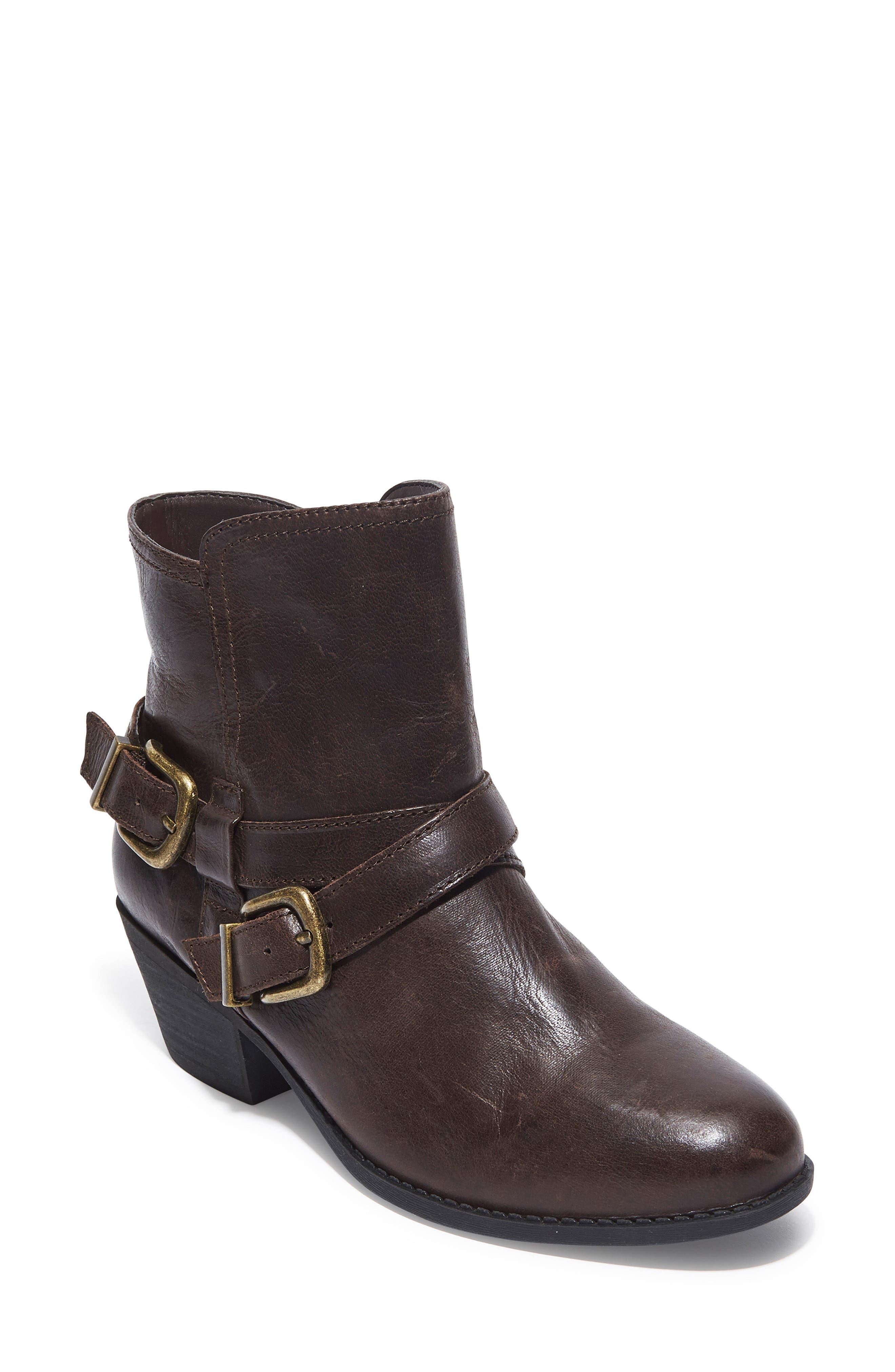 Zuri Buckle Boot,                         Main,                         color, Dark Luggage Leather