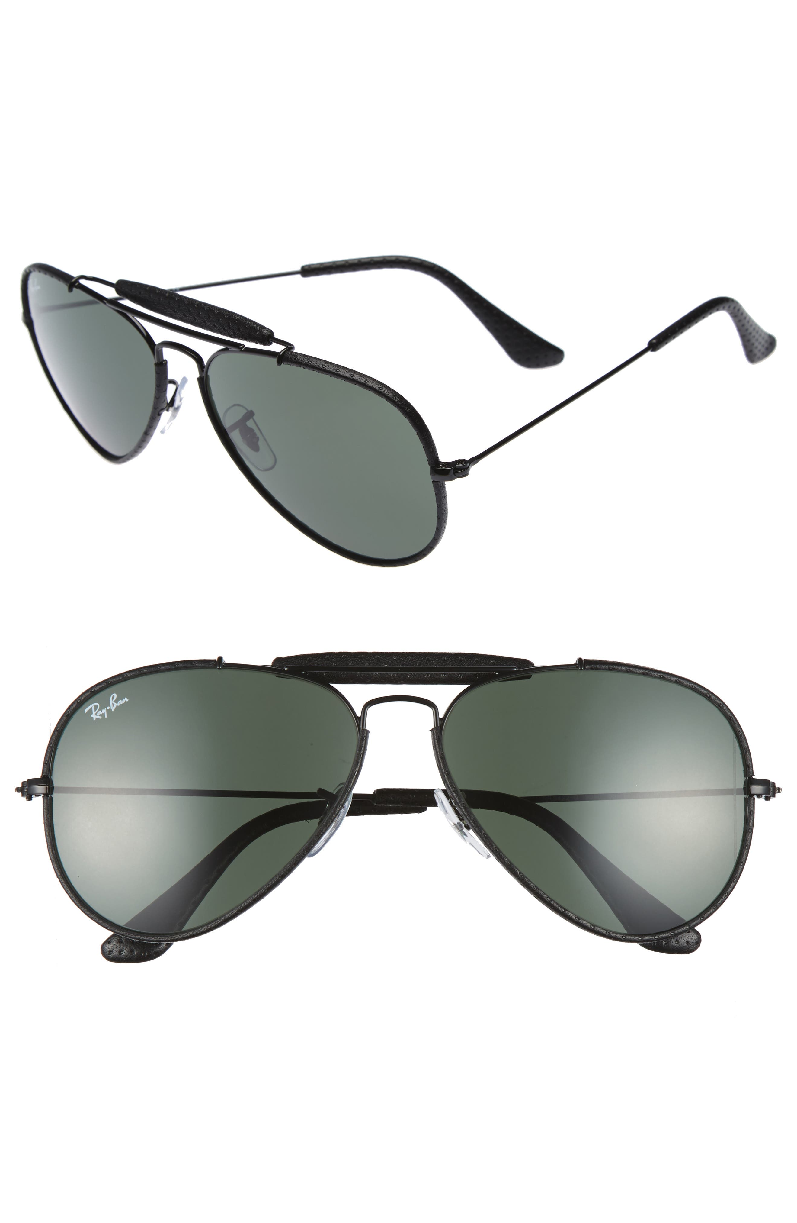 Outdoorsman 58mm Aviator Sunglasses,                         Main,                         color, Black/ Green