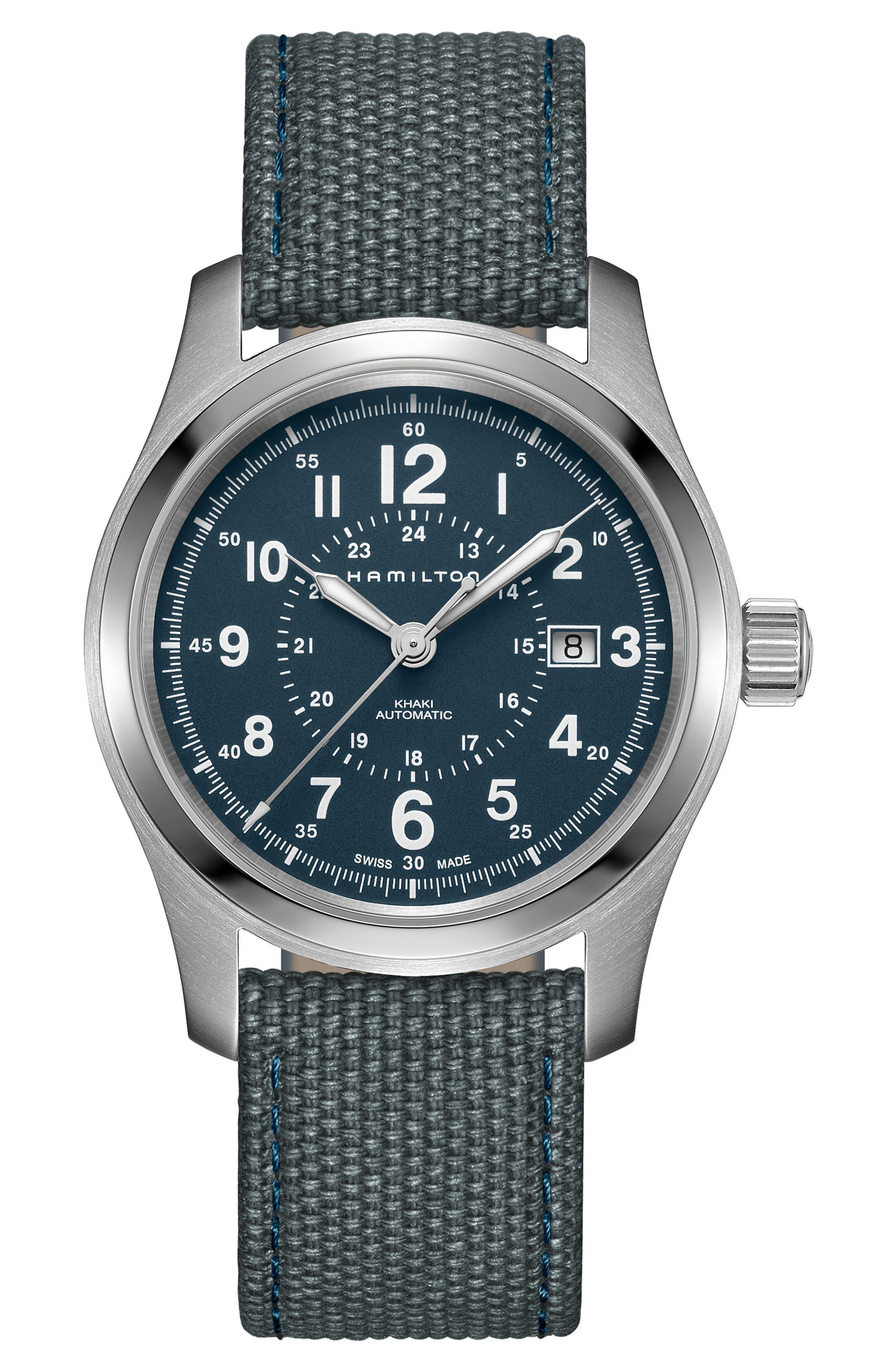 HAMILTON Khaki Field Automatic Canvas Strap Watch, 42mm