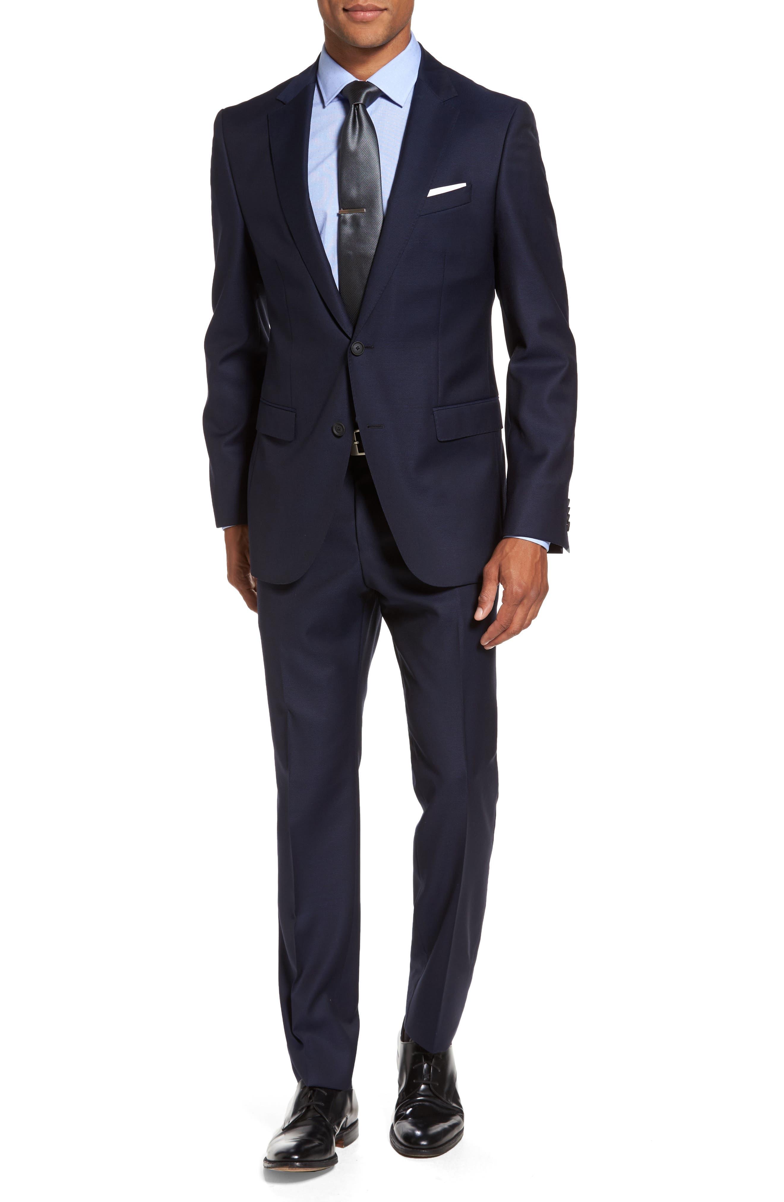 BOSS Nestro/Byte Trim Fit Solid Wool Suit