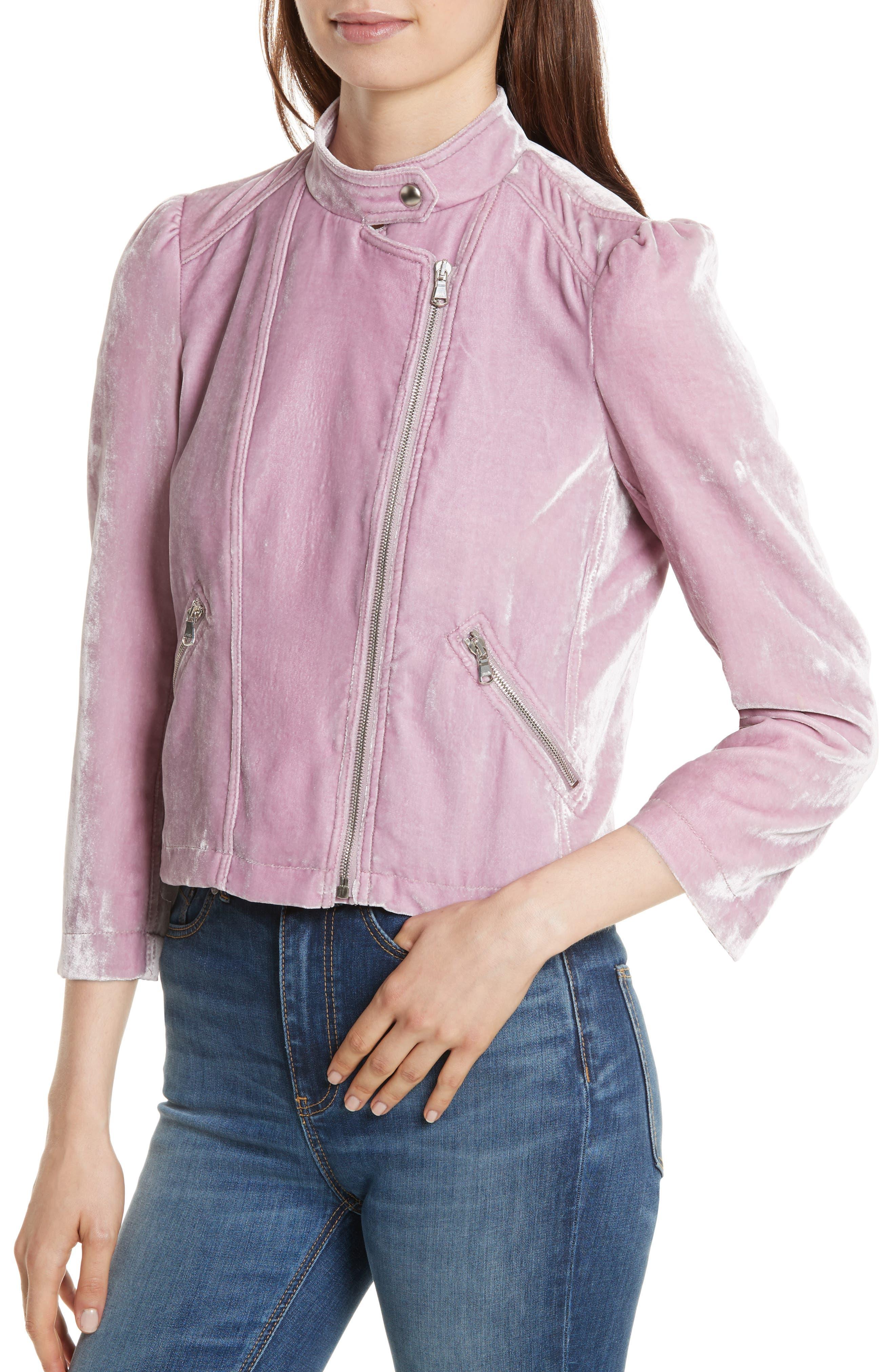 Velvet Moto Jacket,                             Alternate thumbnail 4, color,                             Dusty Iris