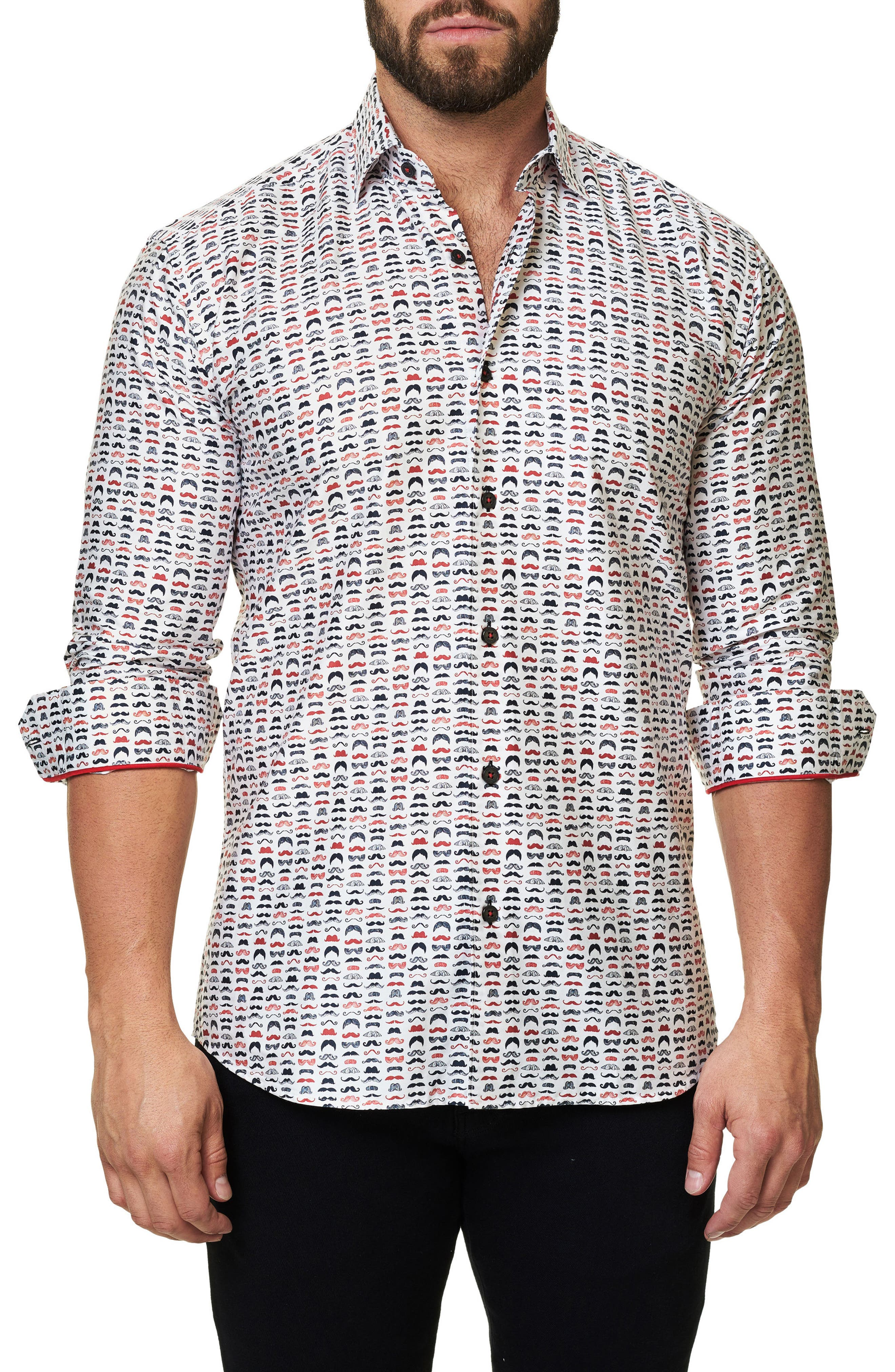 Luxor Funky Mustache Trim Fit Sport Shirt,                         Main,                         color, White