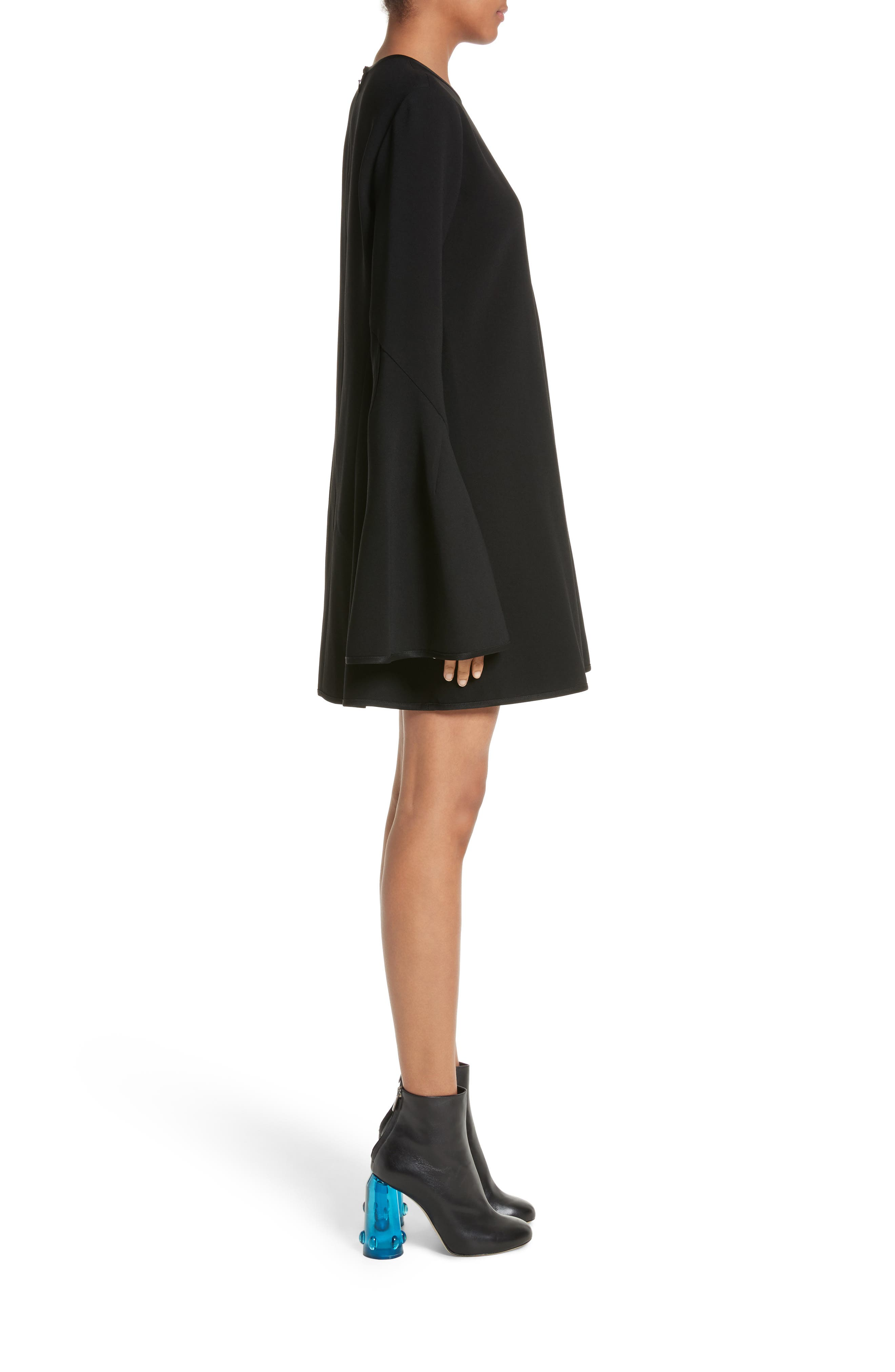 Preacher Flare Sleeve Minidress,                             Alternate thumbnail 6, color,                             Black
