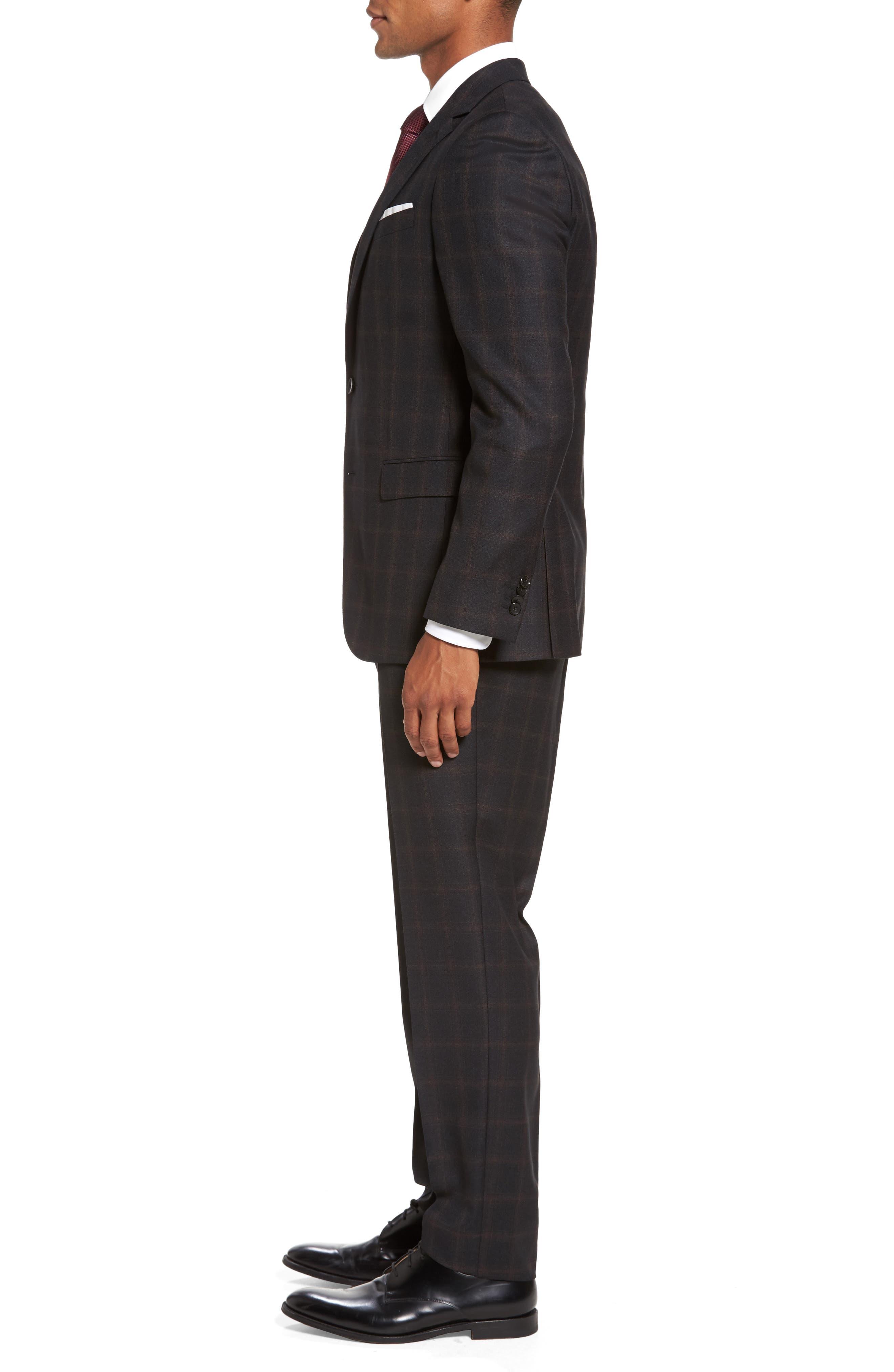 Novan/Ben Trim Fit Plaid Wool Suit,                             Alternate thumbnail 3, color,                             Open Grey