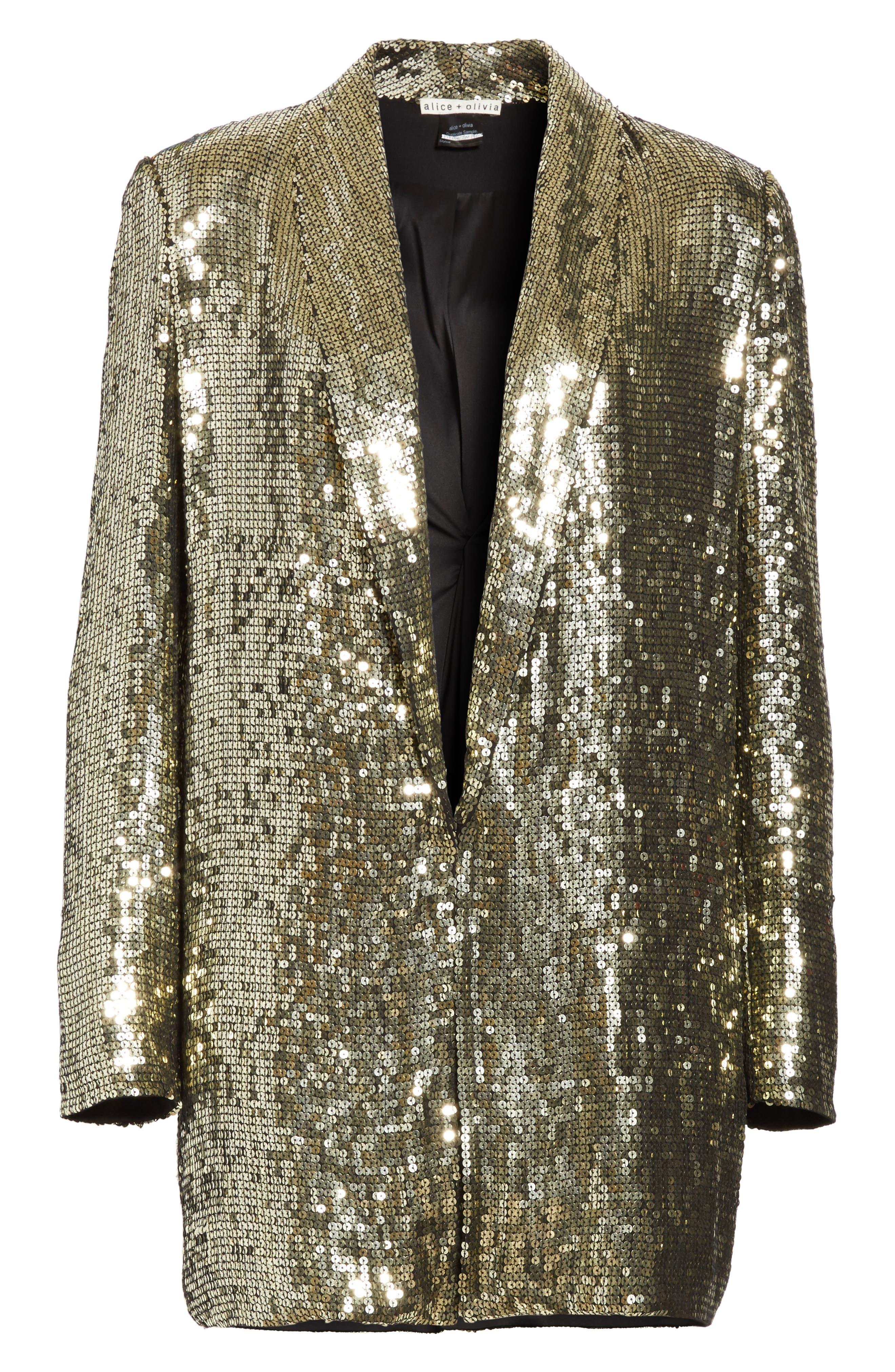 Jace Sequin Embellished Blazer,                             Alternate thumbnail 6, color,                             Gunmetal