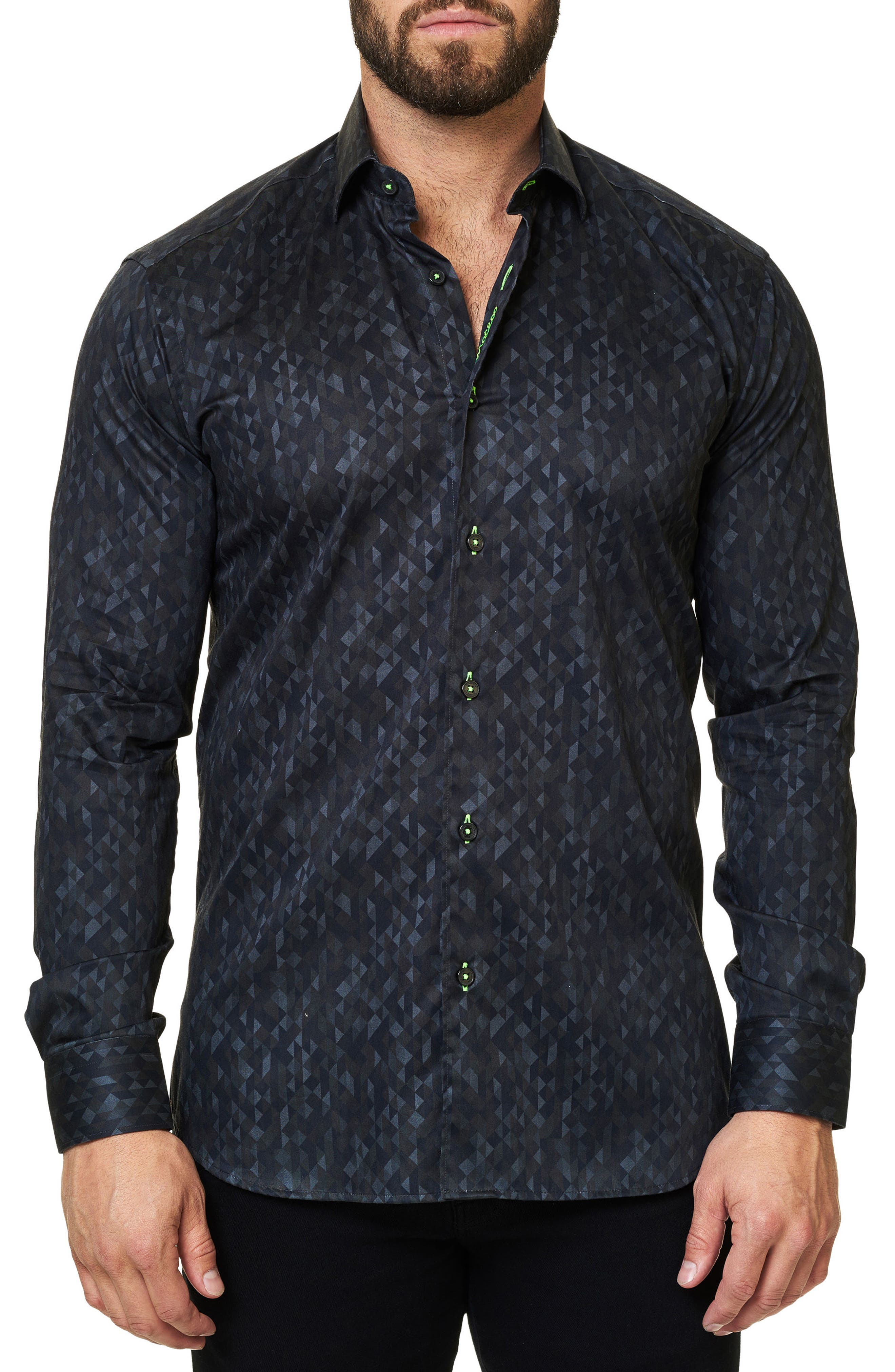 Maceoo Luxor Abstract Losange Trim Fit Sport Shirt