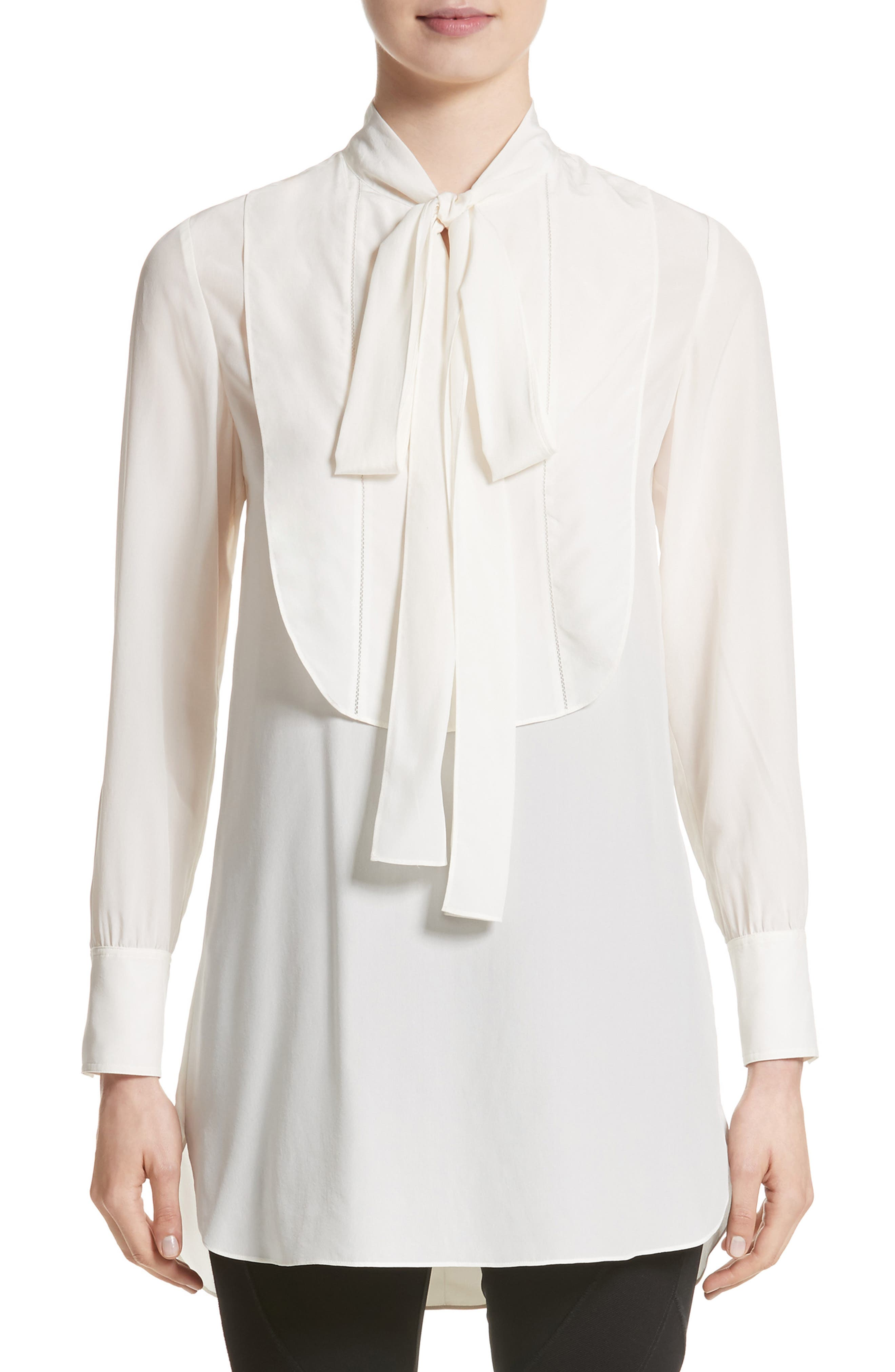 Burberry Hawk Tie Neck Silk Blouse