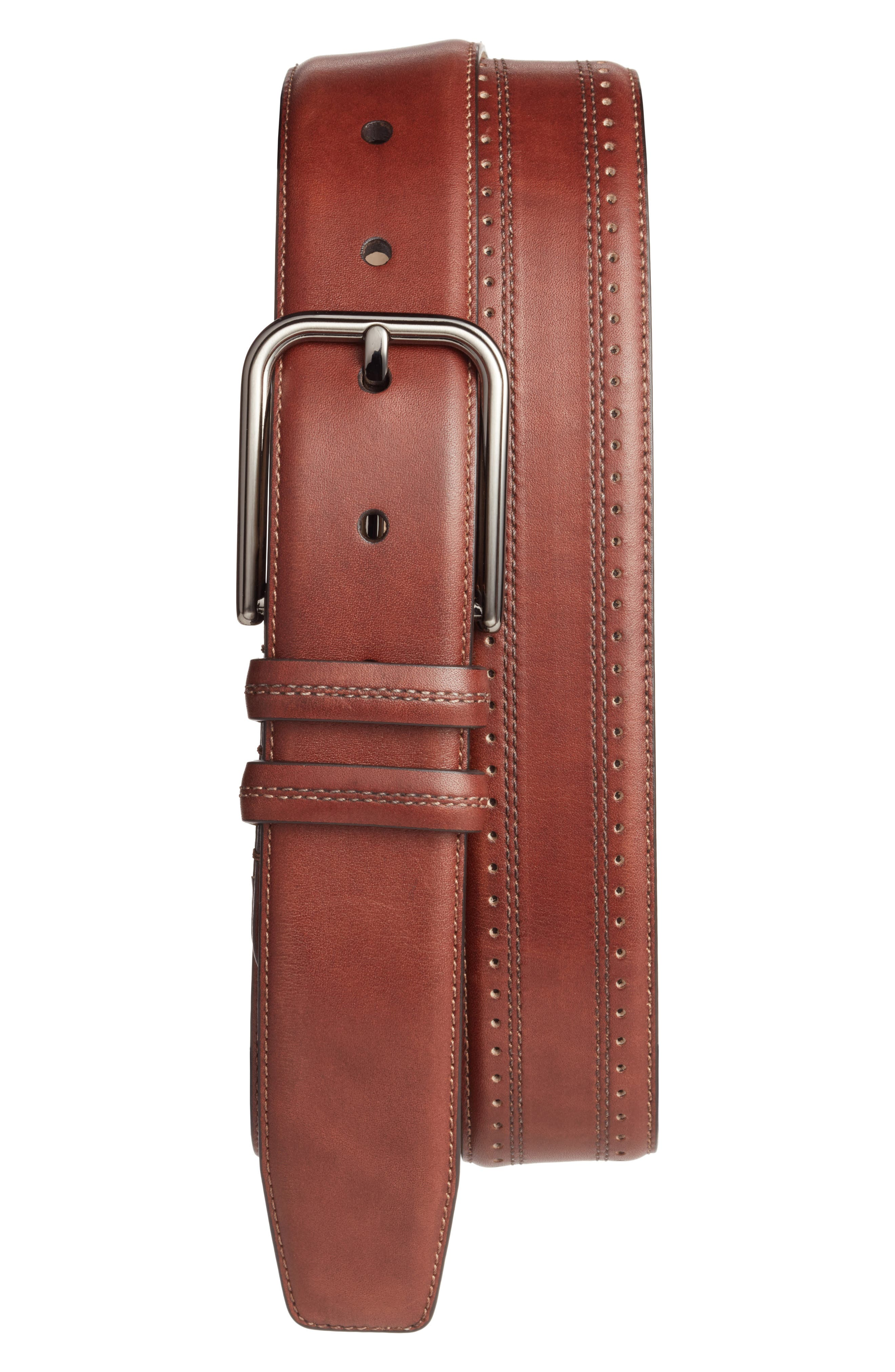 Naxos Leather Belt,                             Main thumbnail 1, color,                             Cognac