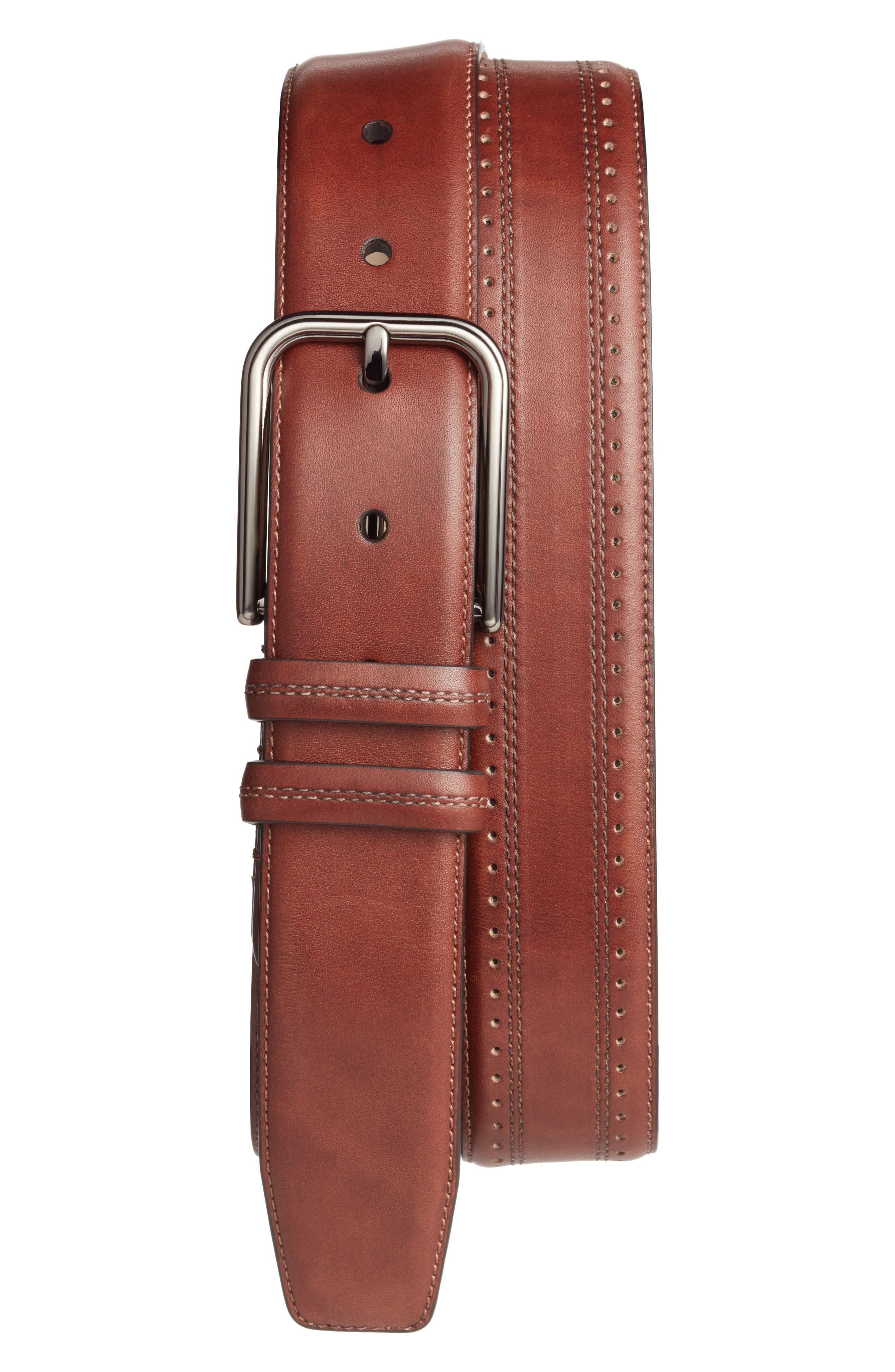 Naxos Leather Belt,                         Main,                         color, Cognac