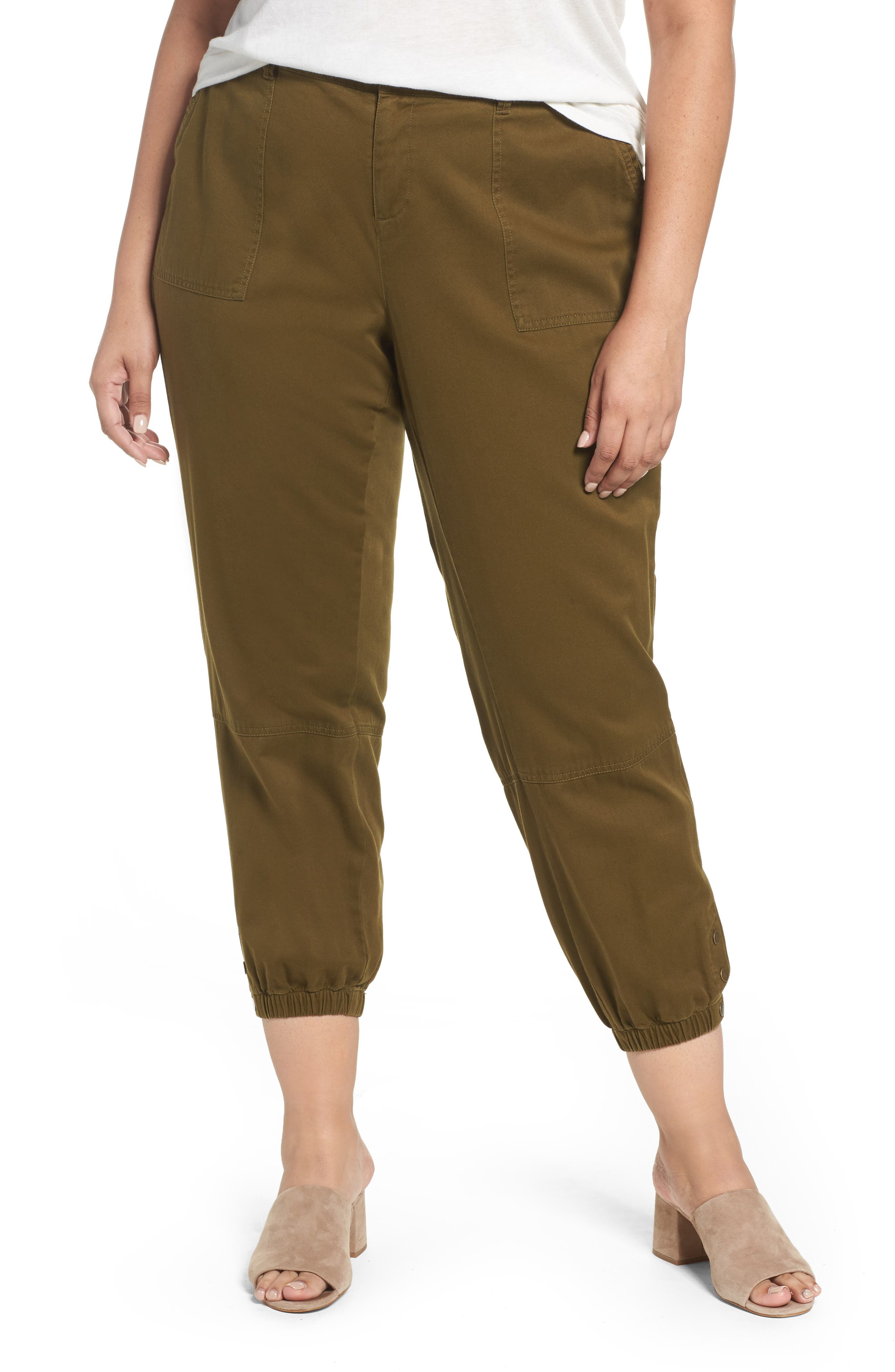 Twill Jogger Pants,                         Main,                         color, Olive Dark