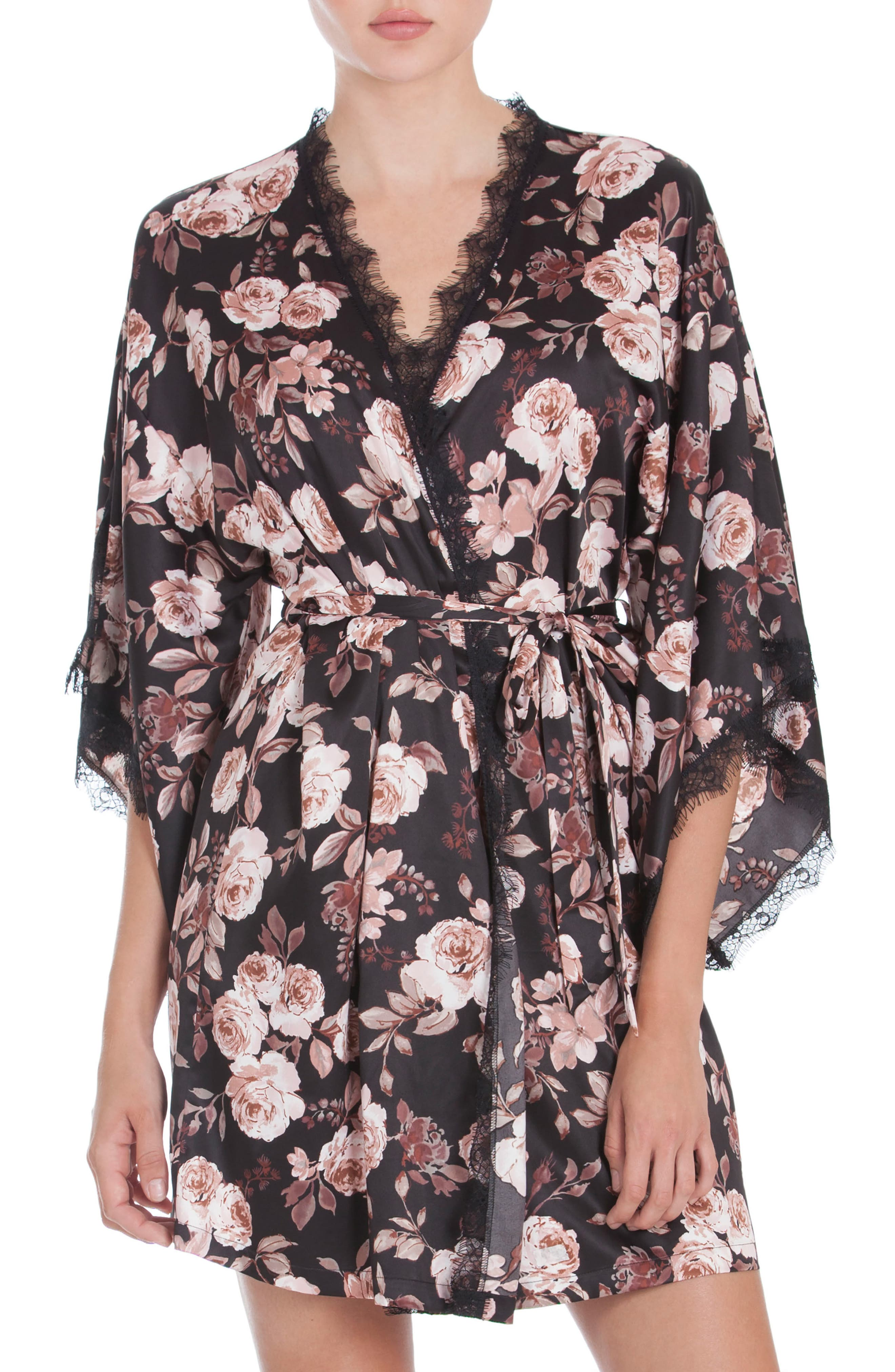 Floral Print Kimono Robe,                         Main,                         color, Black Ground Rose Floral Print