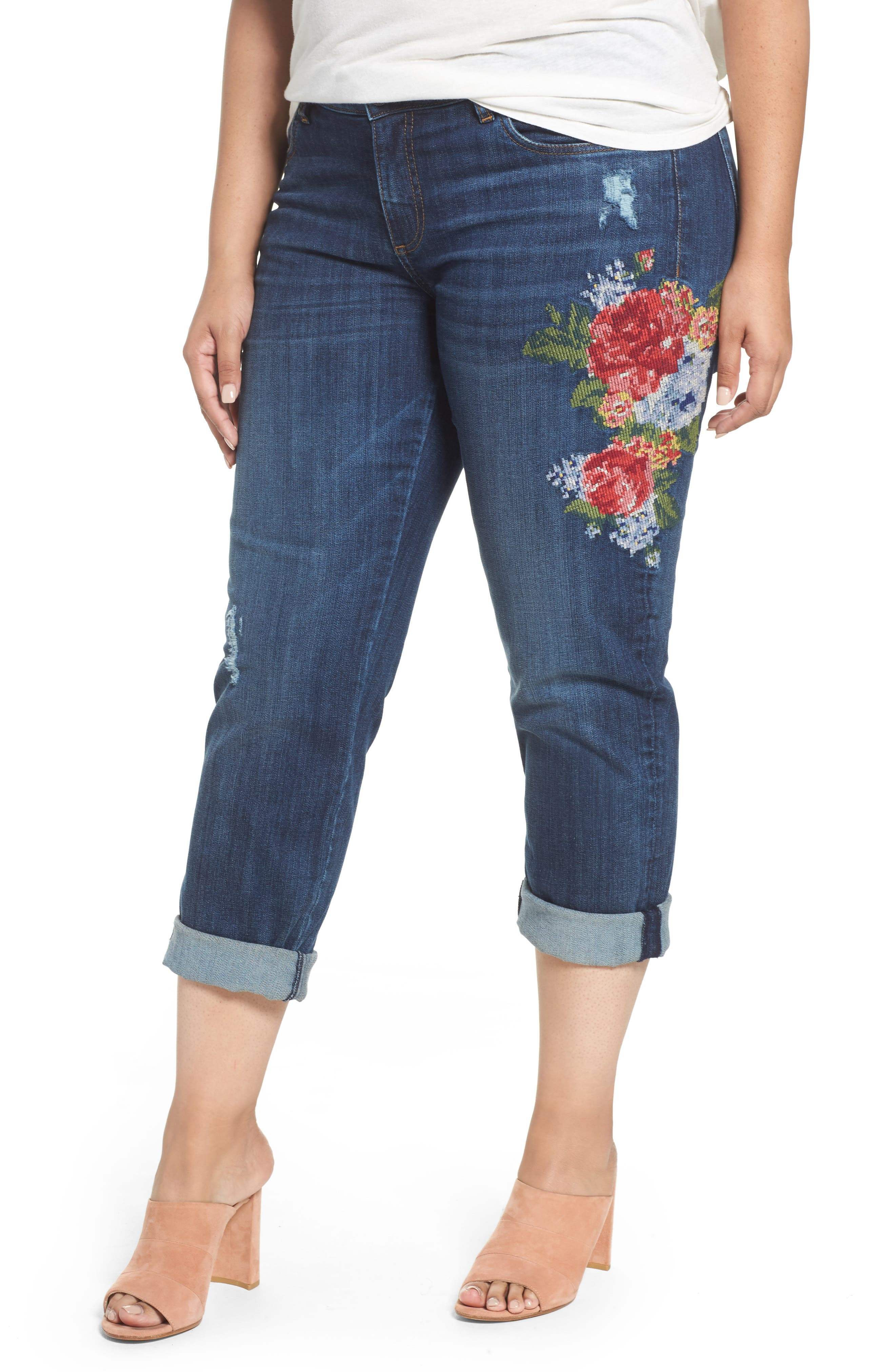 Alternate Image 1 Selected - KUT from the Kloth Catherine Embroidered Boyfriend Jeans (Premier Dark) (Plus Size)