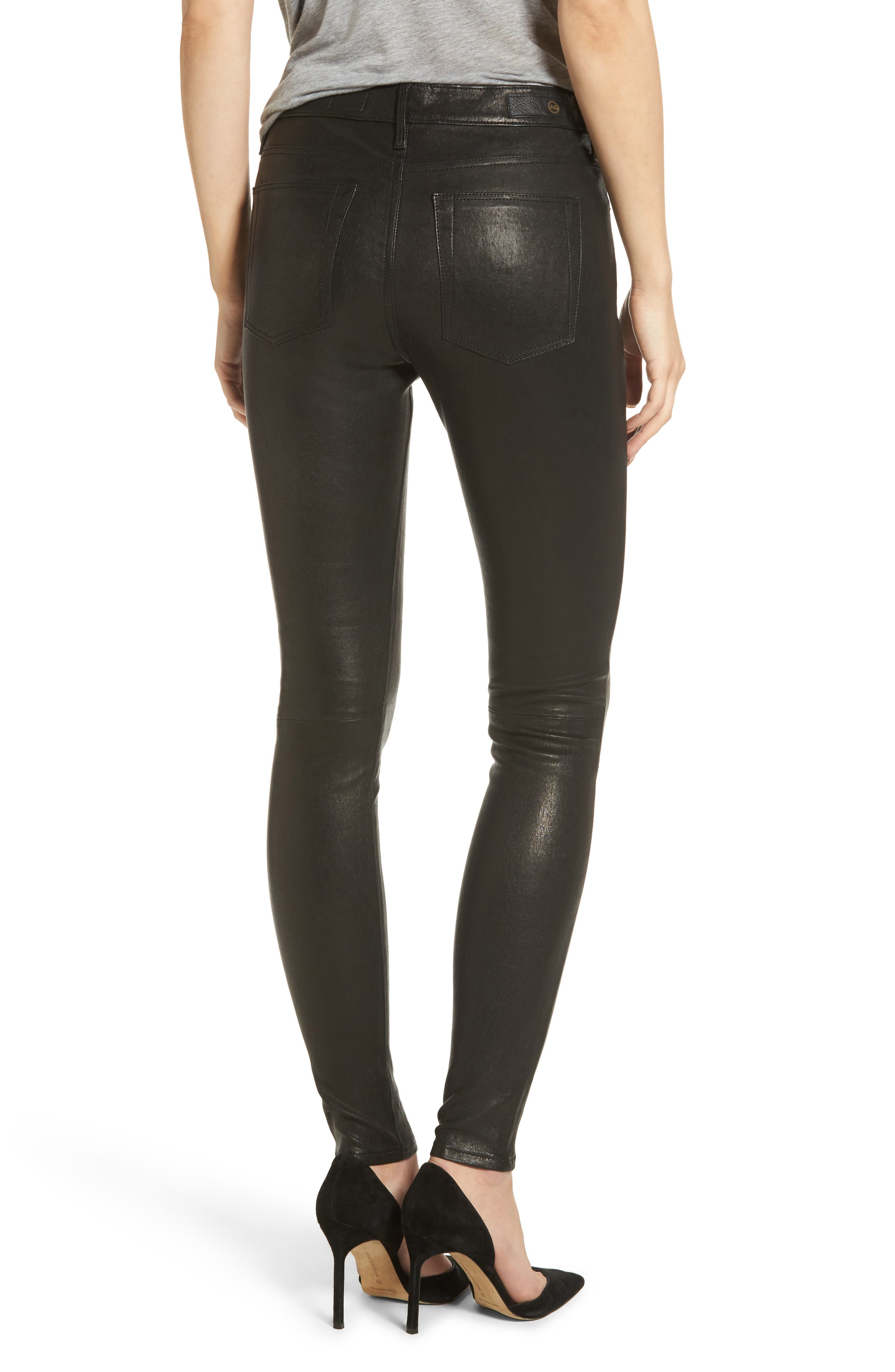 Alternate Image 2  - AG Farrah Leather Skinny Jeans