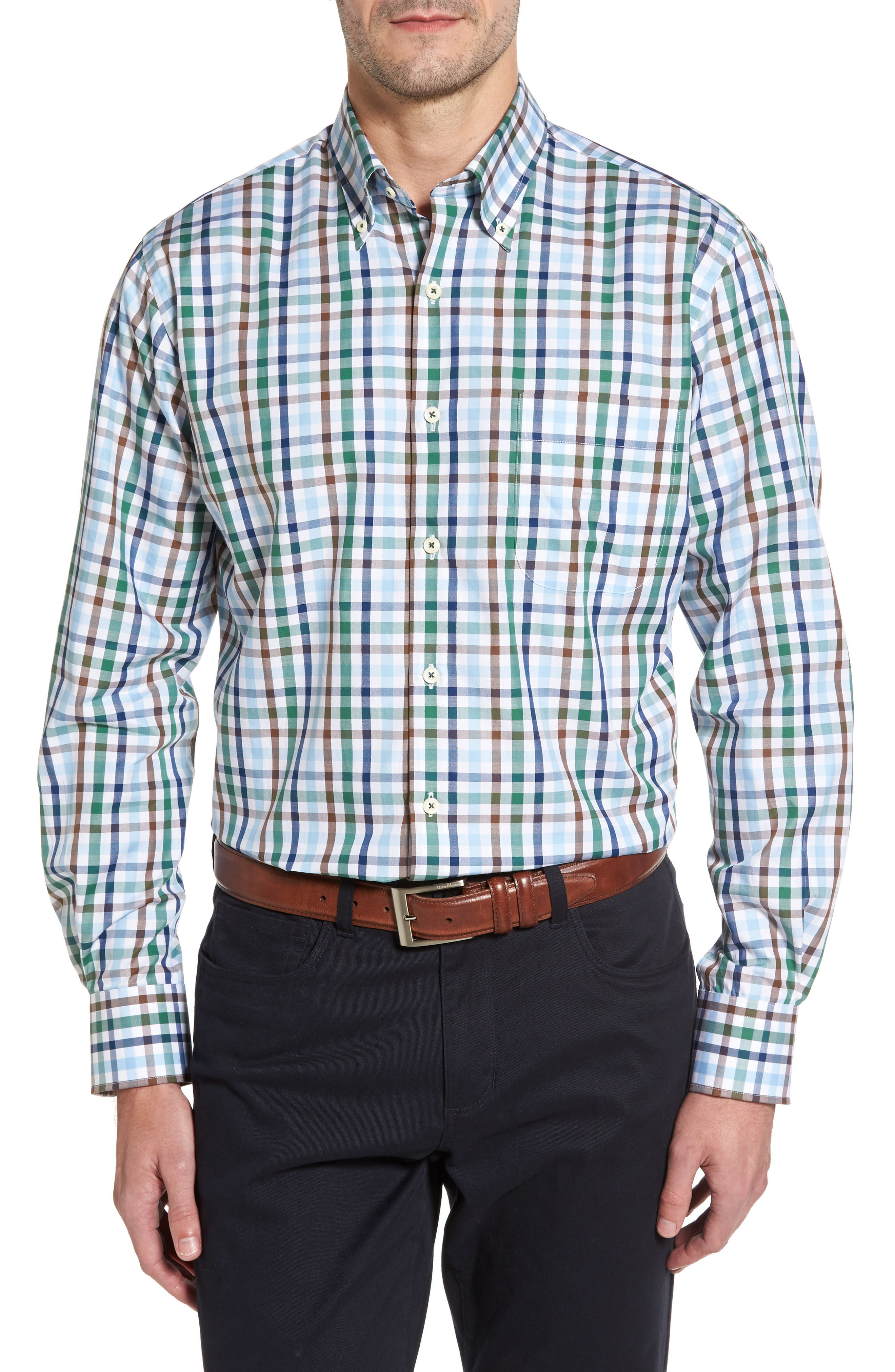 Trail Check Sport Shirt,                         Main,                         color, Pine