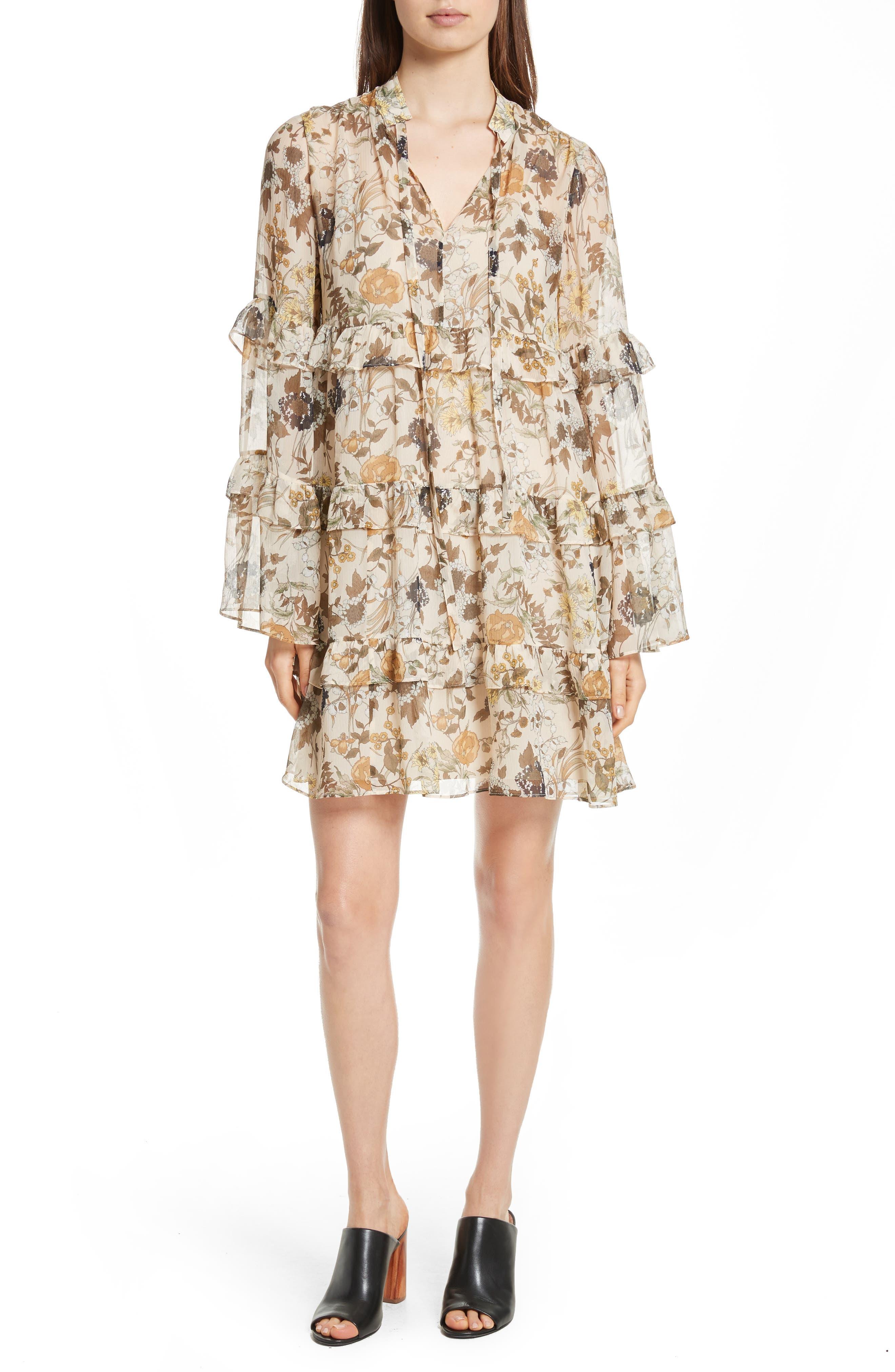 Robert Rodriguez Tiered Ruffle Silk Dress