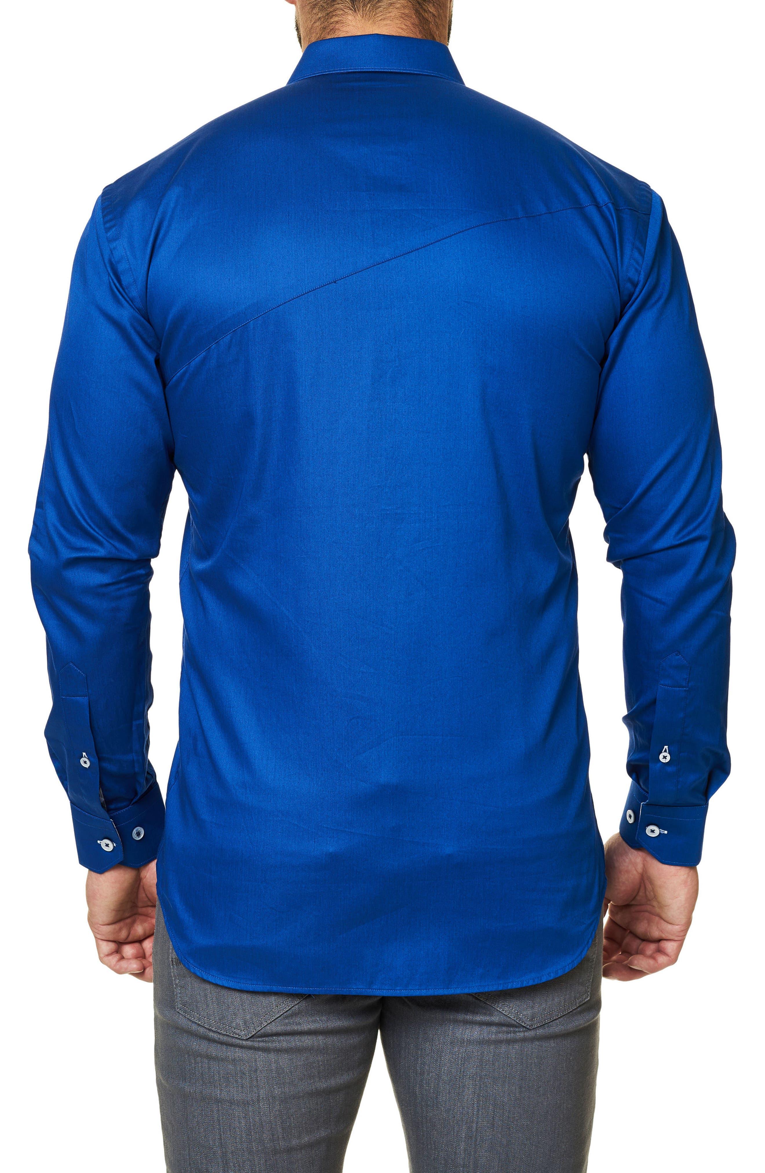 Trim Fit Sport Shirt,                             Alternate thumbnail 2, color,                             Navy