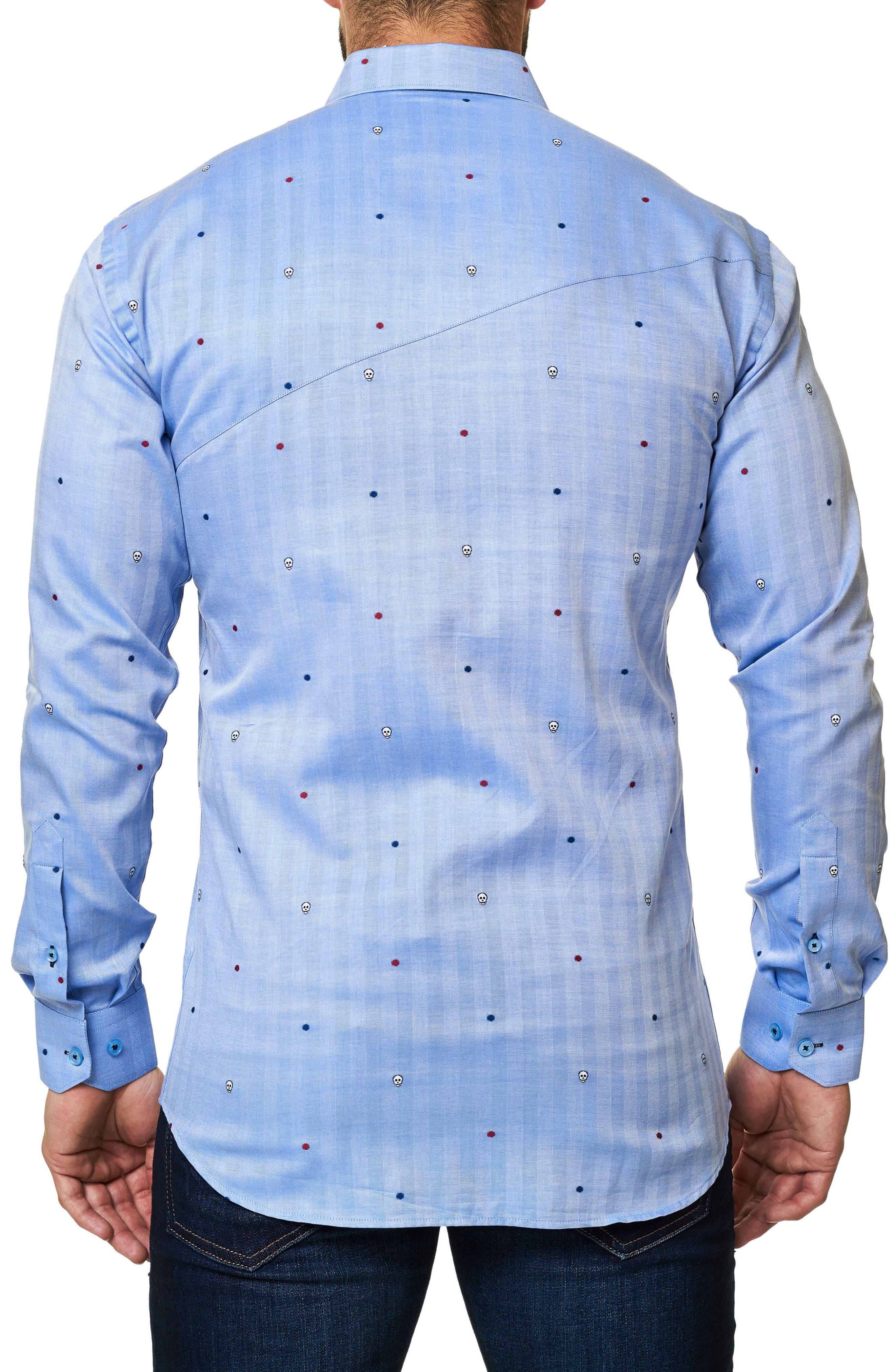 Trim Fit Embroidered Sport Shirt,                             Alternate thumbnail 2, color,                             Blue