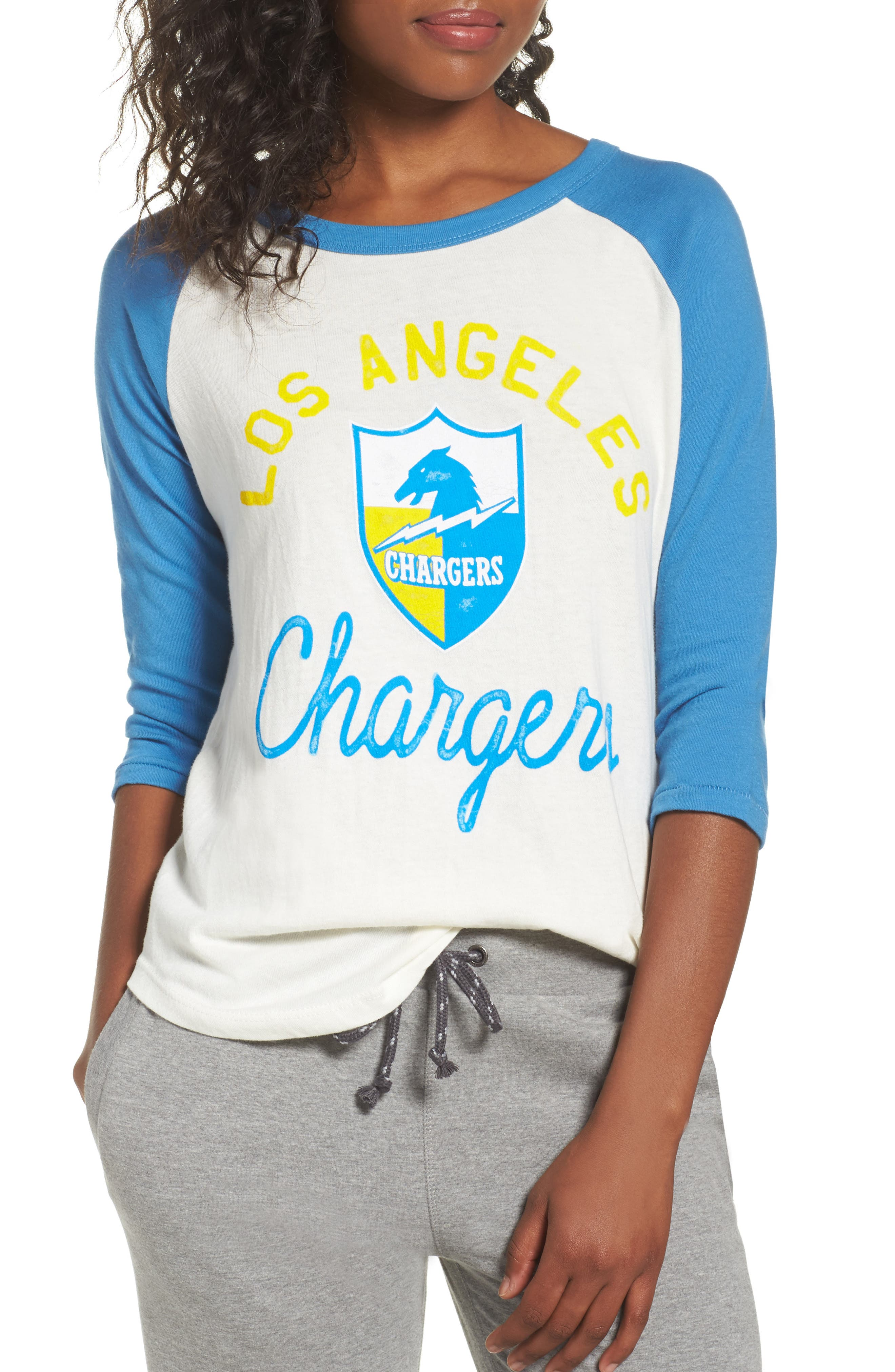 NFL Los Angeles Chargers Raglan Tee,                             Main thumbnail 1, color,                             Sugar/ Blueberry