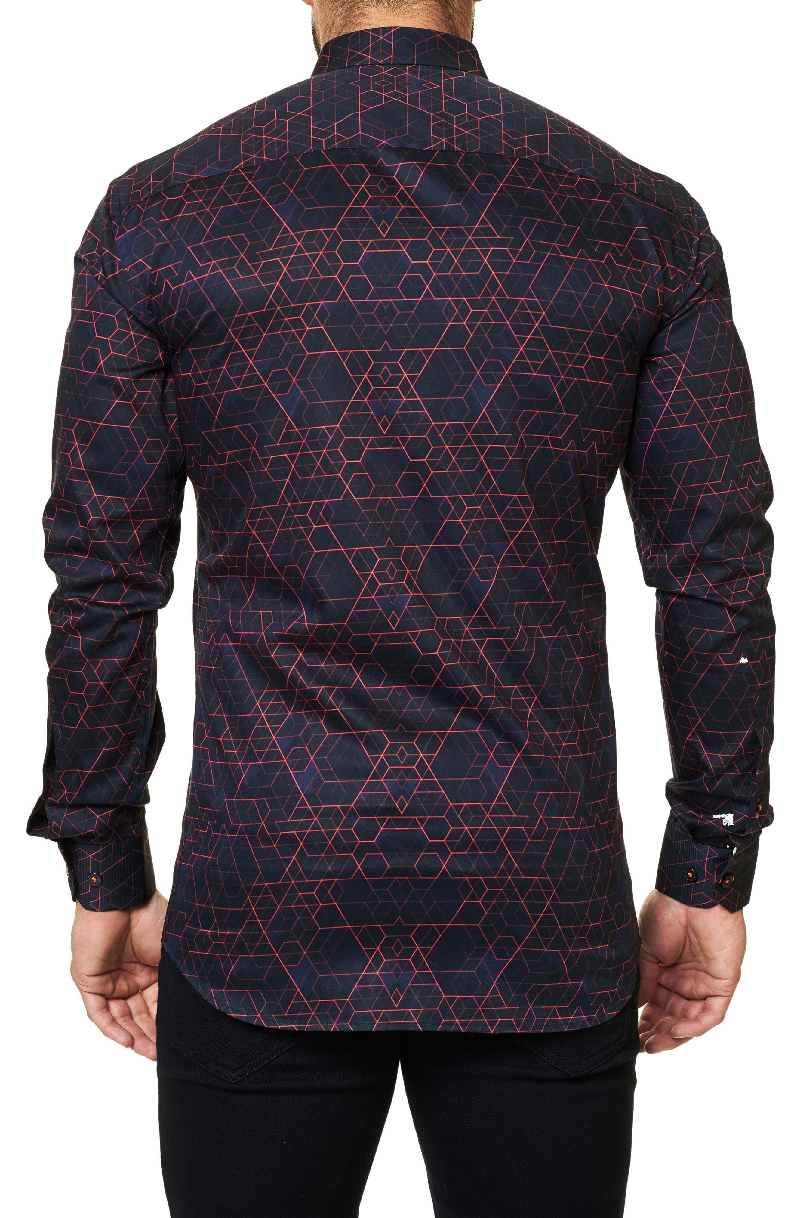 Trim Fit Geo Print Sport Shirt,                             Alternate thumbnail 2, color,                             Black
