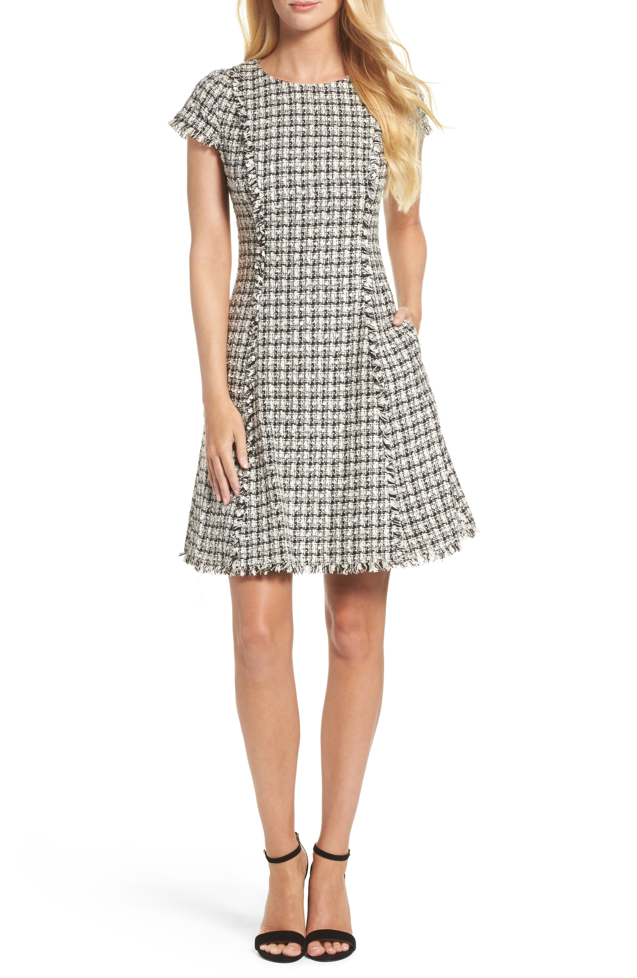 Houndstooth Fit & Flare Dress,                         Main,                         color, Cream/ Black