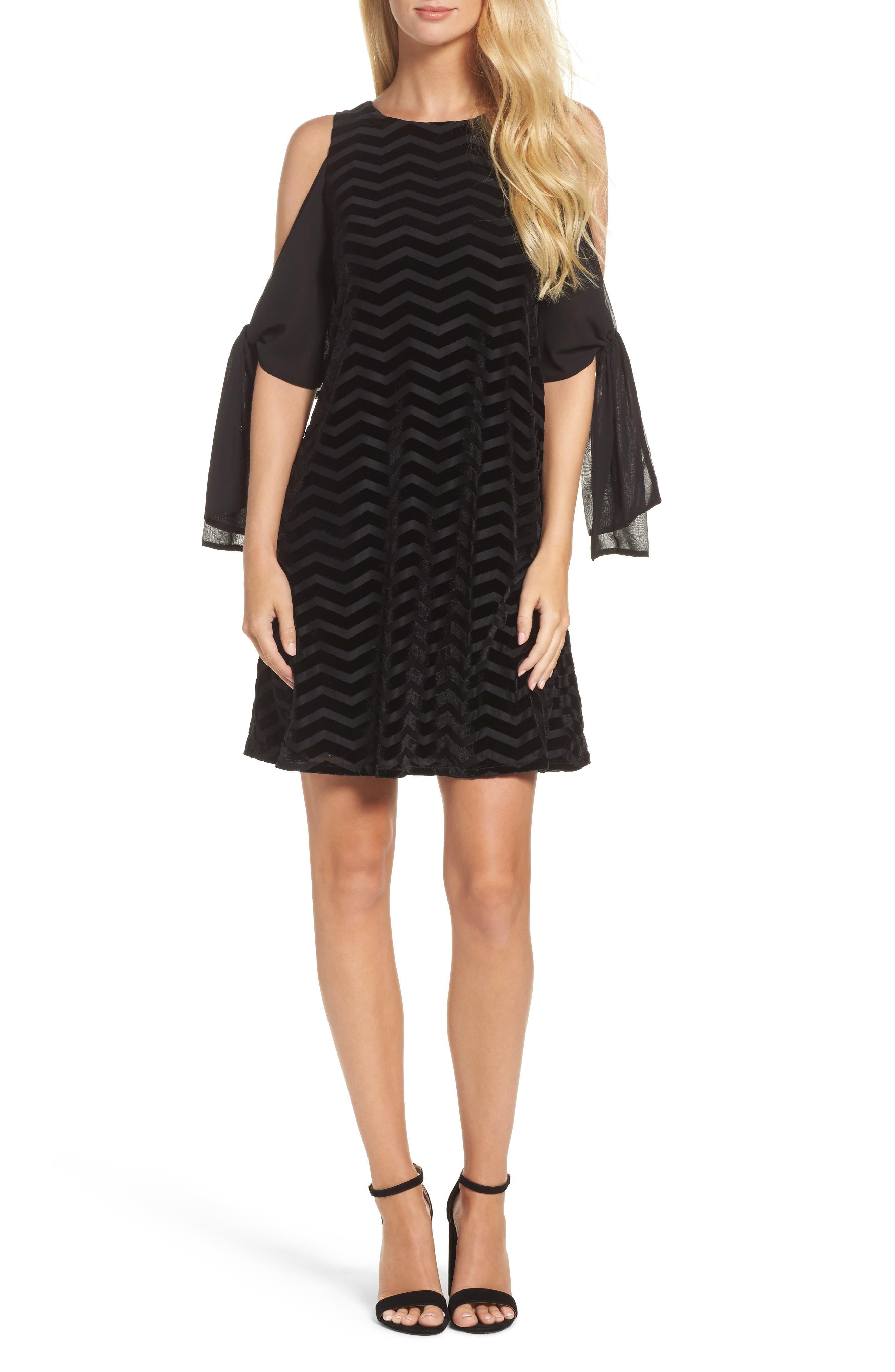 Chiffon Sleeve Velvet Burnout Shift Dress,                         Main,                         color, Black