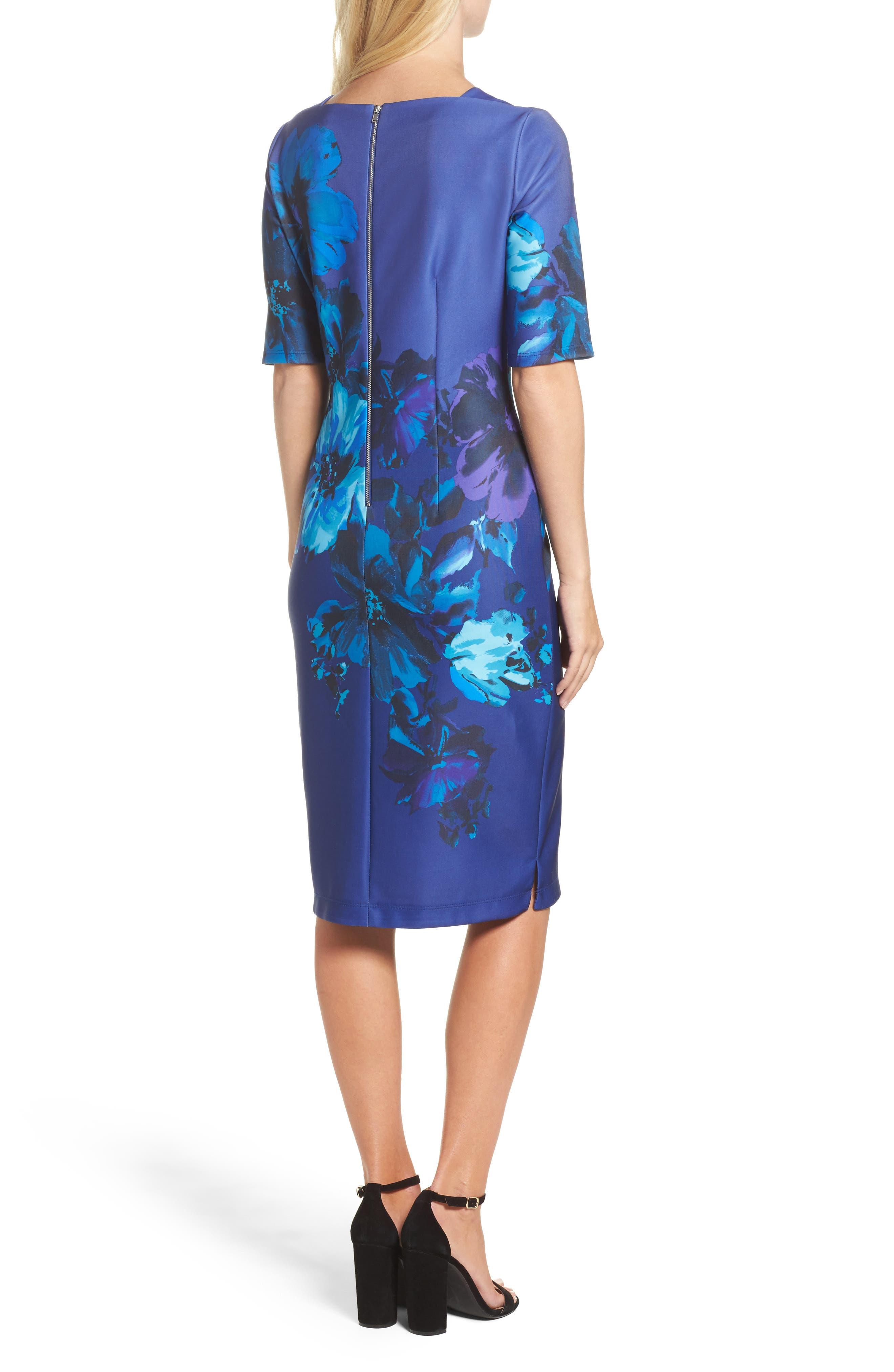 Alternate Image 2  - Gabby Skye Floral Print Scuba Sheath Dress