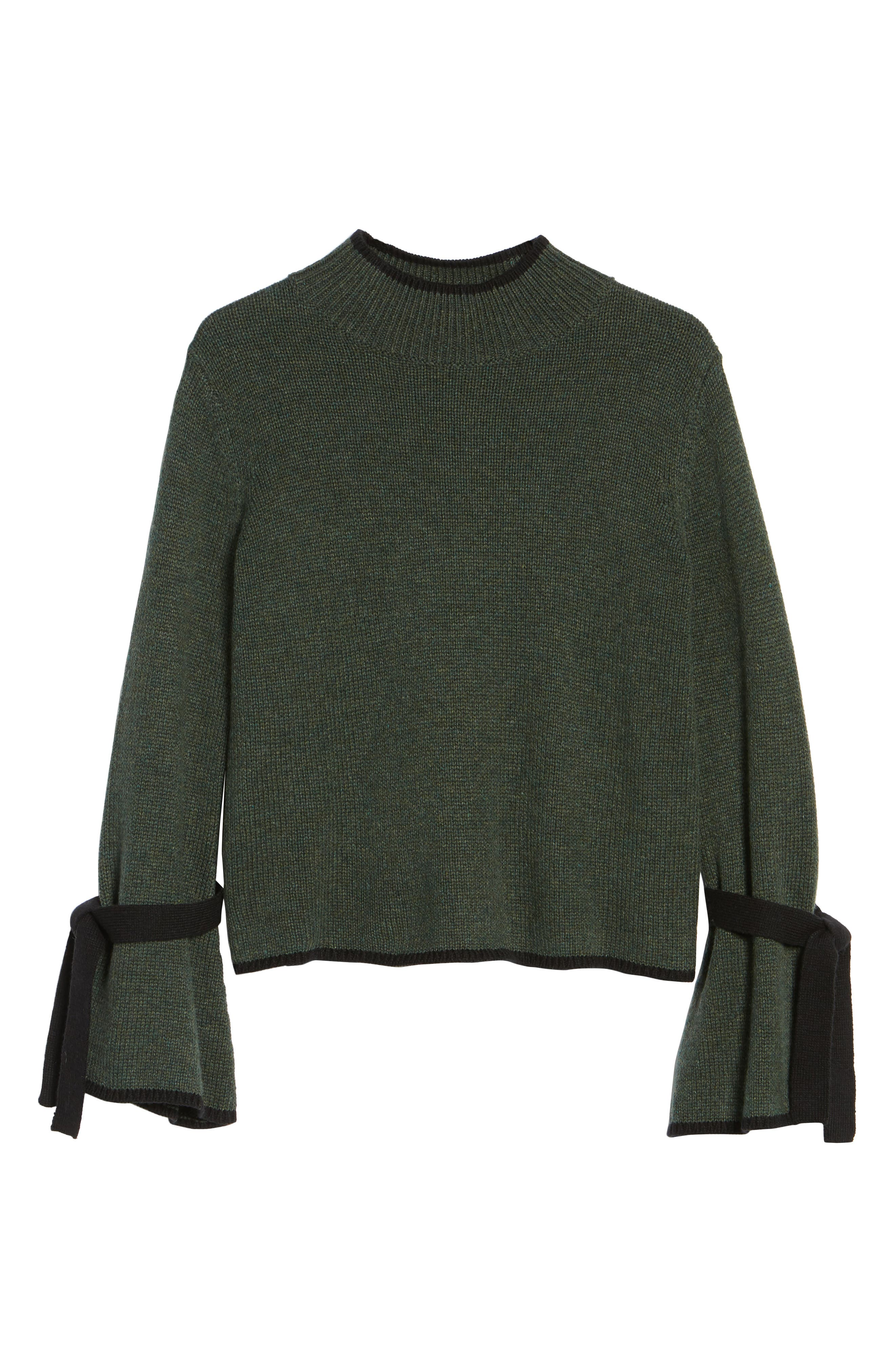 Tie Sleeve Sweater,                             Alternate thumbnail 6, color,                             Green Wood