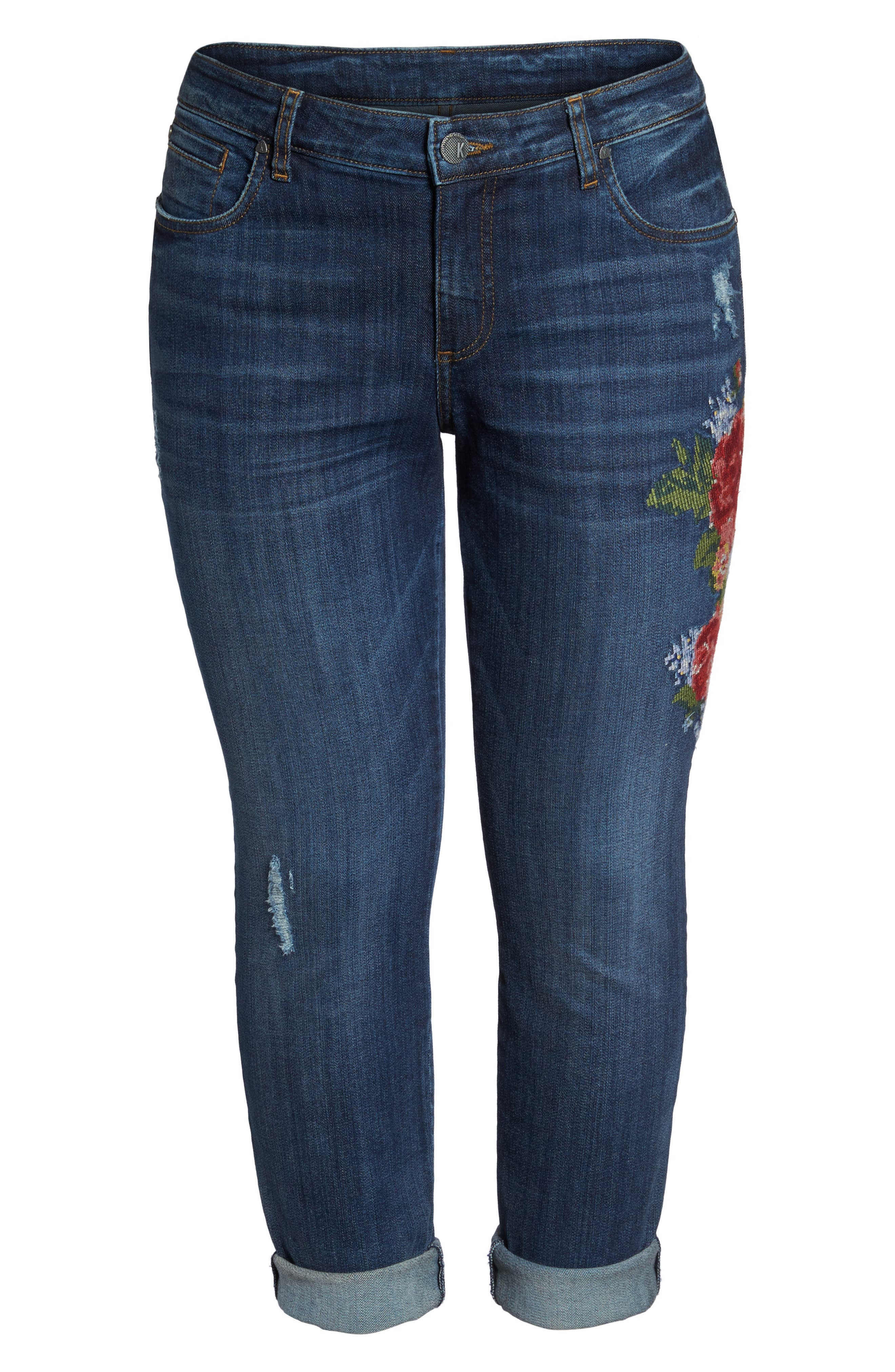 Alternate Image 7  - KUT from the Kloth Catherine Embroidered Boyfriend Jeans (Premier Dark) (Plus Size)