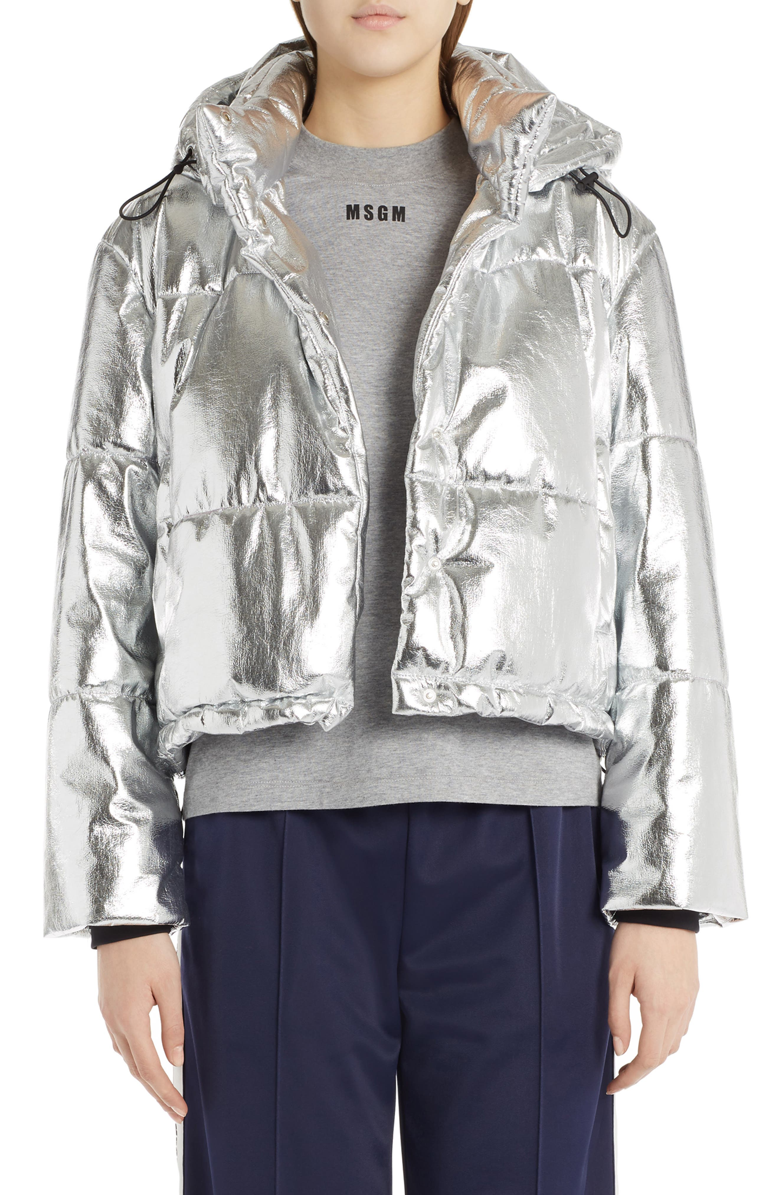 Metallic Quilted Bomber Jacket,                         Main,                         color, Silver
