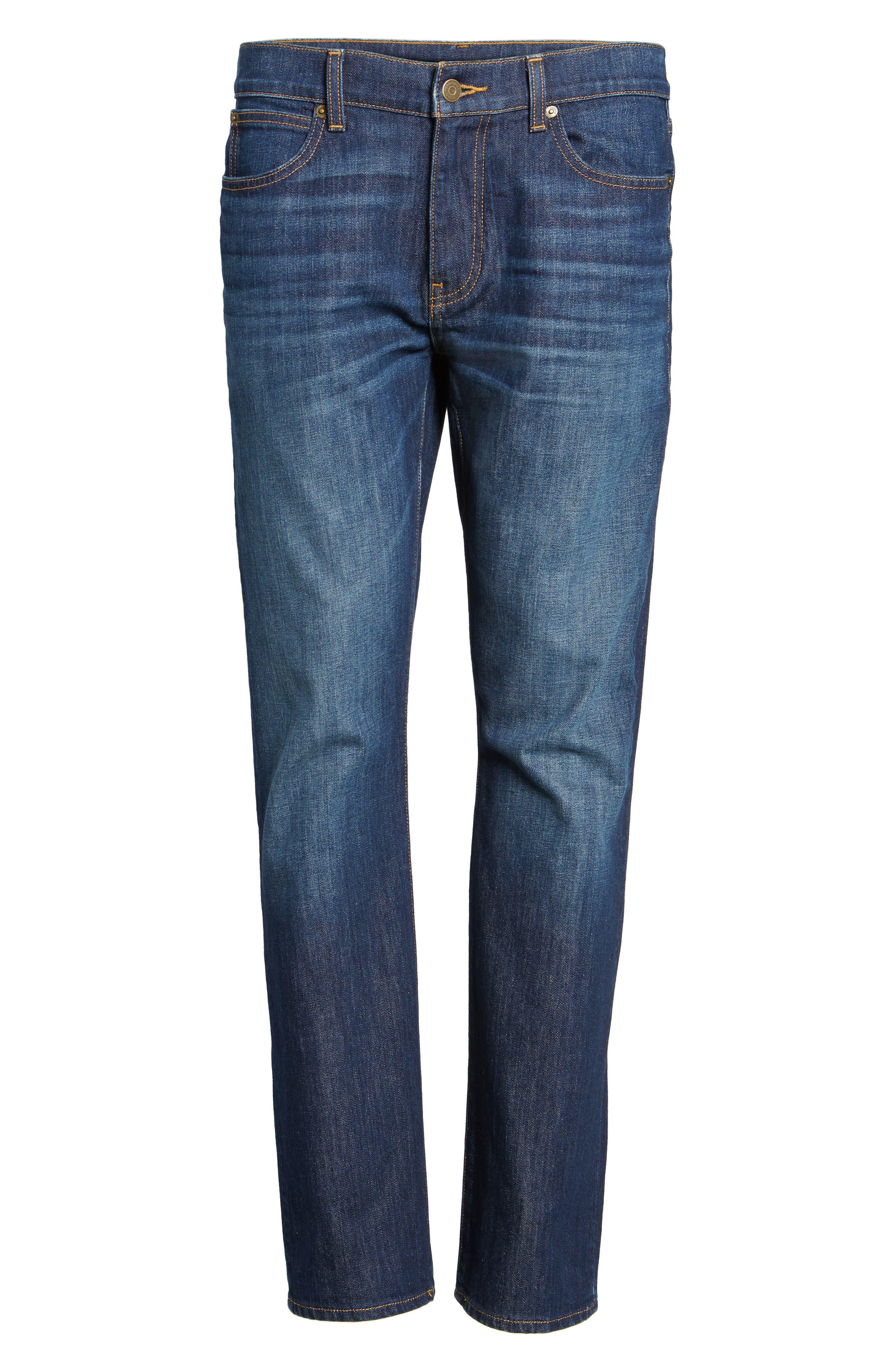 Slim Straight Leg Jeans,                             Alternate thumbnail 6, color,                             Hull Blue