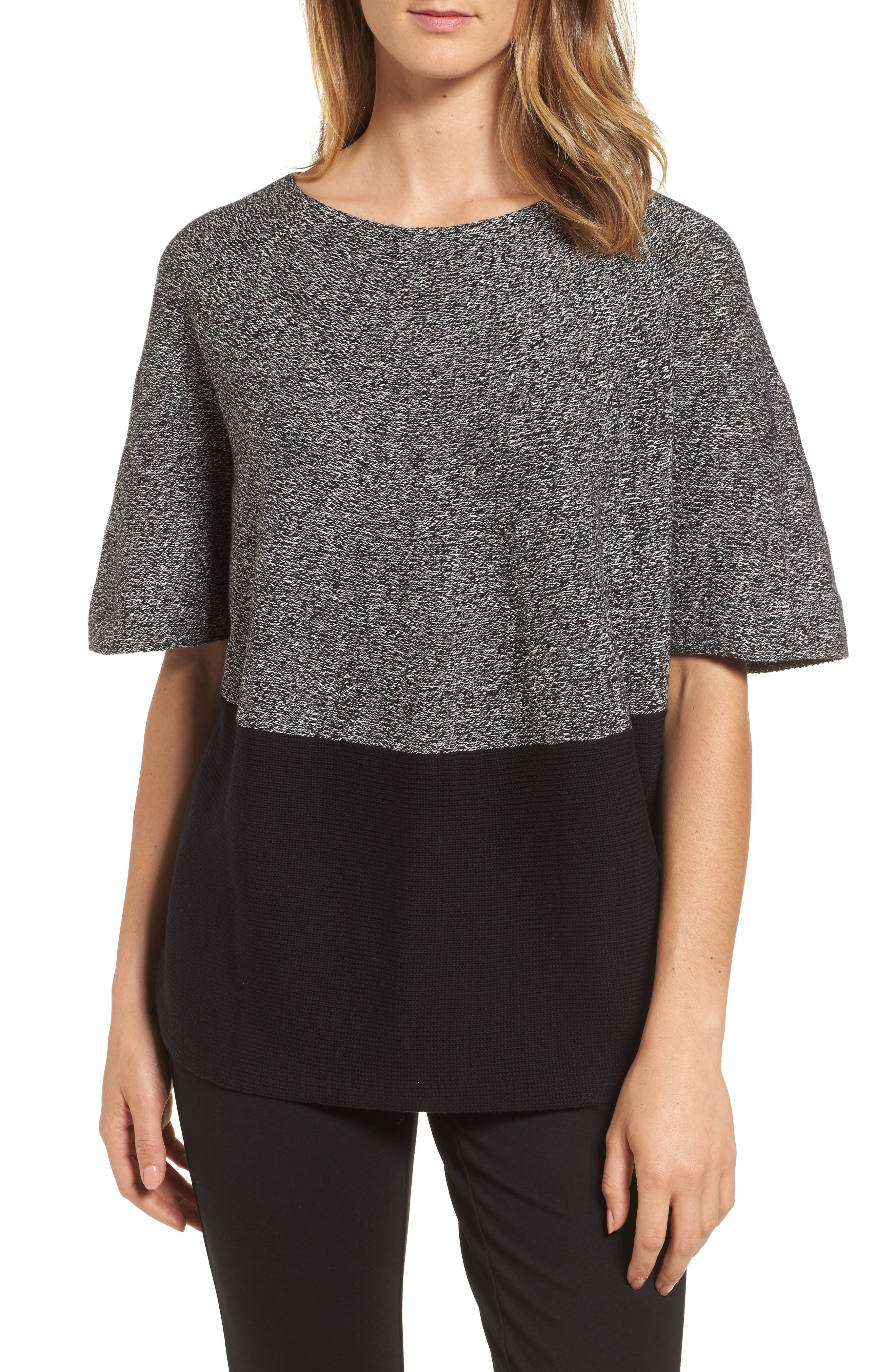 Colorblock Kimono Sleeve Sweater,                         Main,                         color, Rich Black