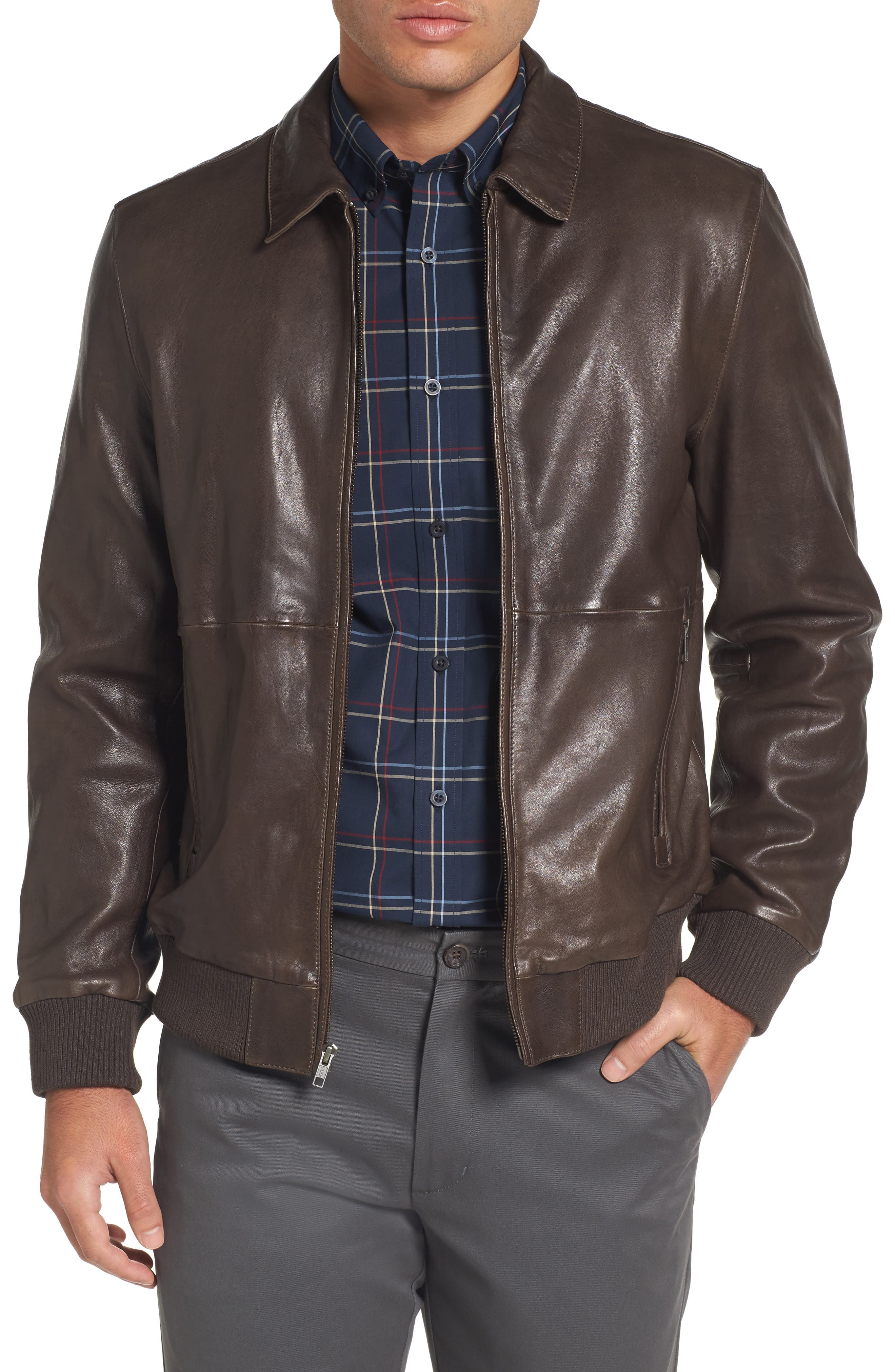 Leather Bomber Jacket,                             Main thumbnail 1, color,                             Brown Seal