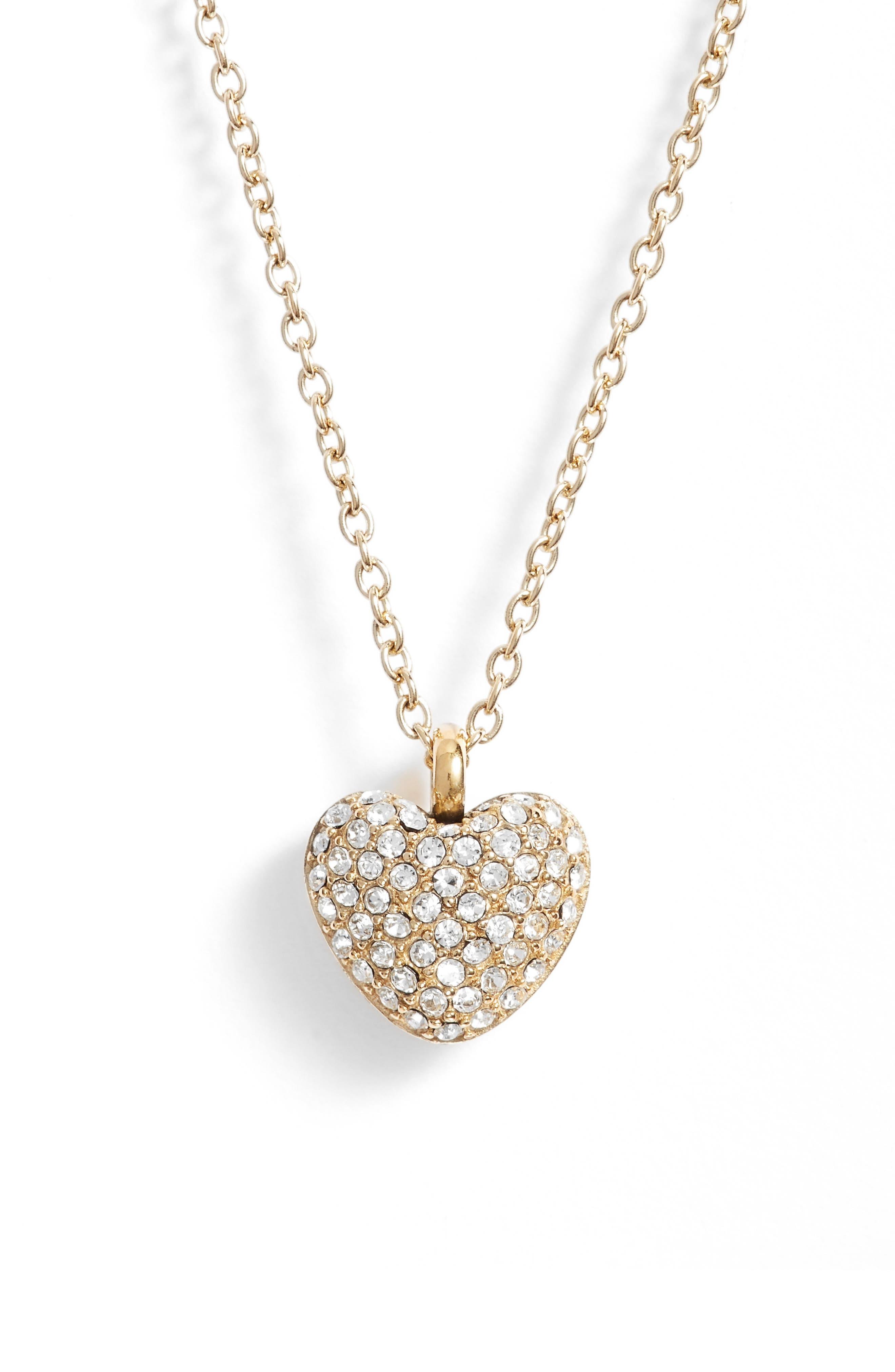 Pavé Heart Pendant Necklace,                             Alternate thumbnail 2, color,                             Gold