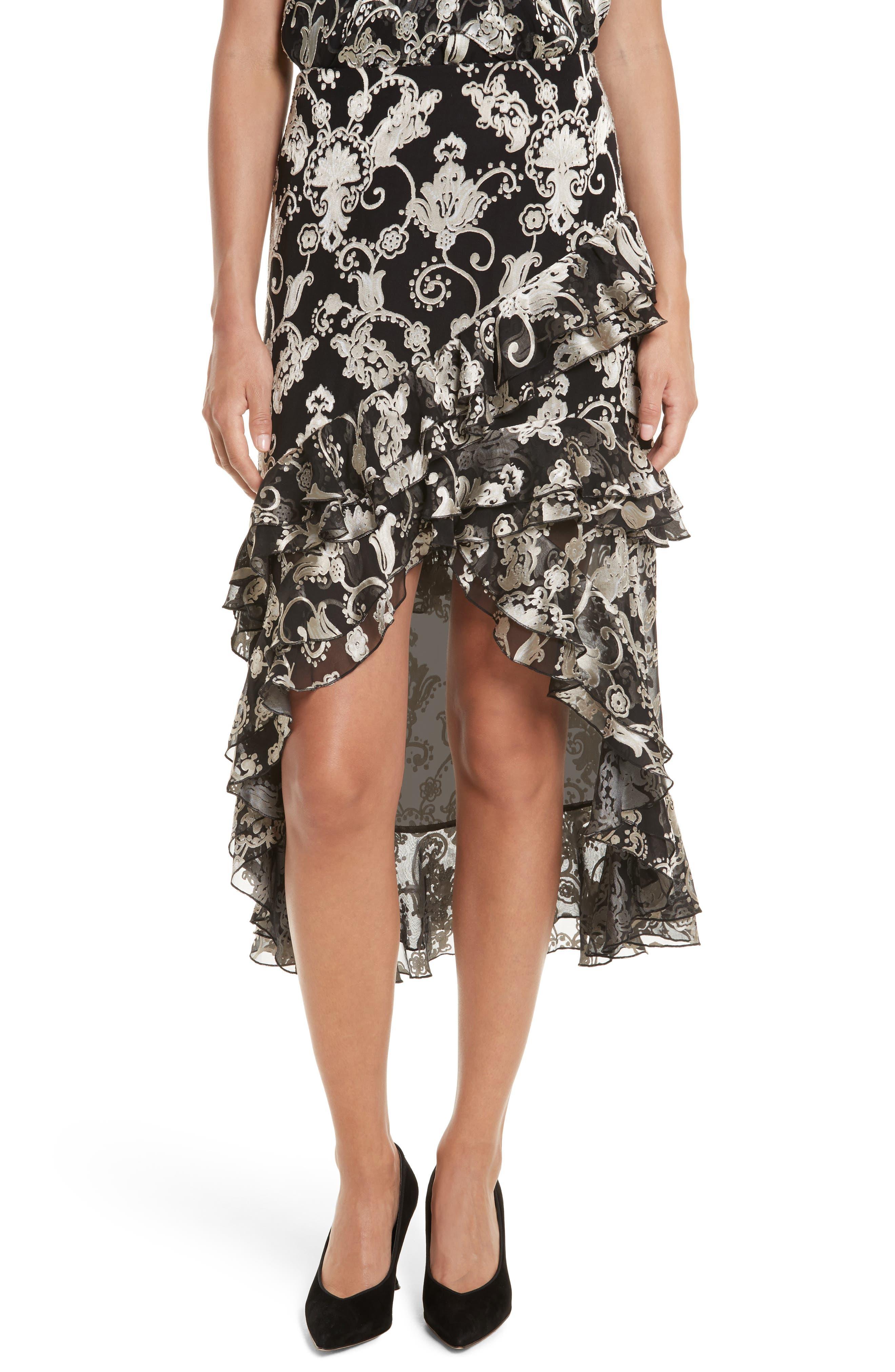 Sasha Asymmetrical Tiered Ruffle Skirt,                             Main thumbnail 1, color,                             Black/ White