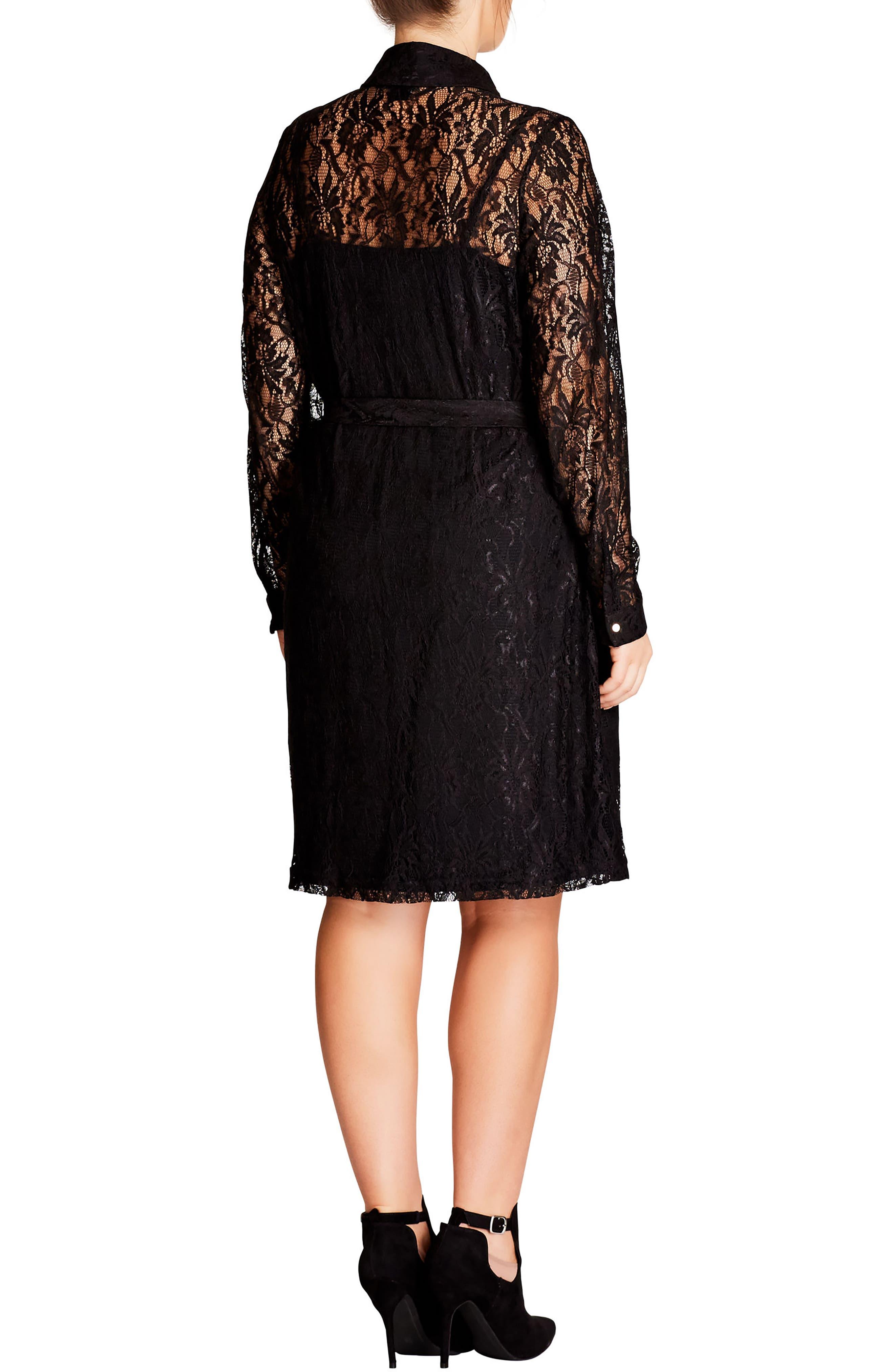 Alternate Image 2  - City Chic Sweet Collar Lace Shirtdress (Plus Size)