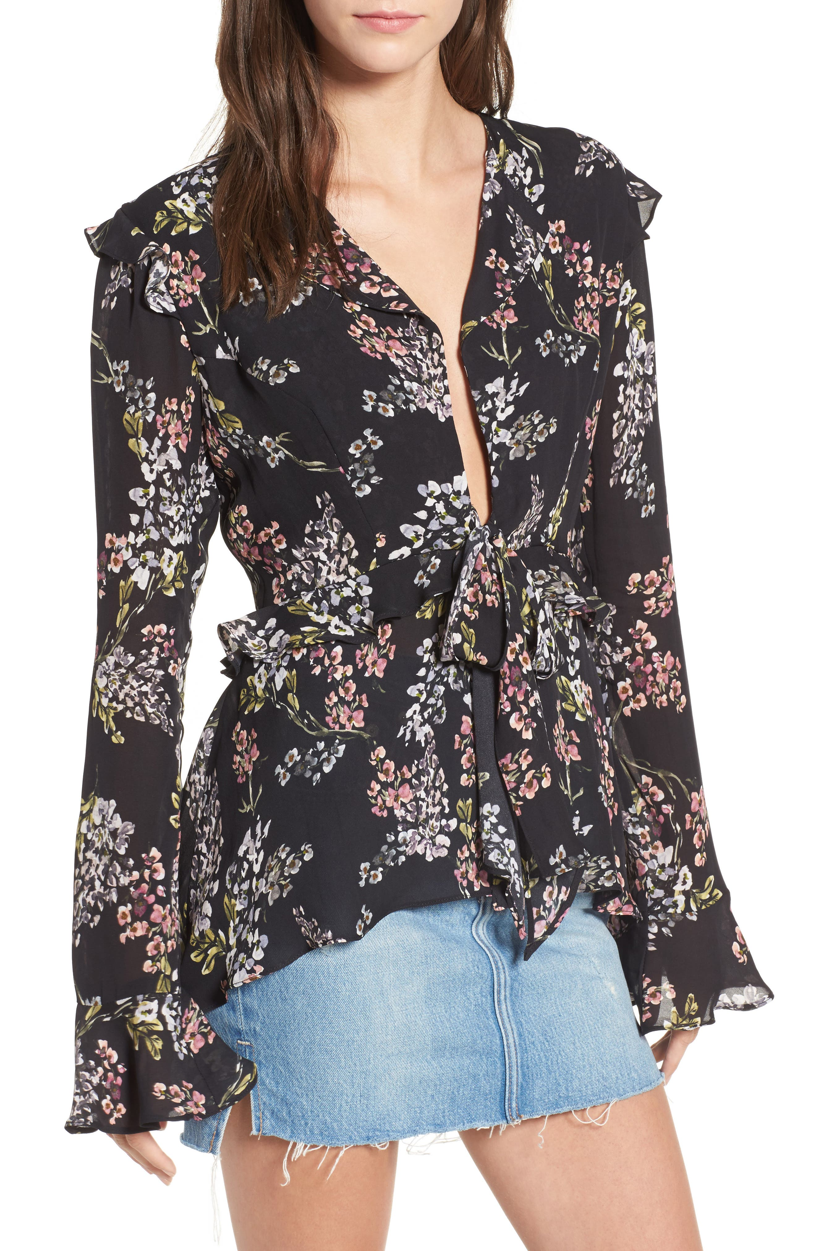 Connery Silk Blouse,                         Main,                         color, Black Autumn