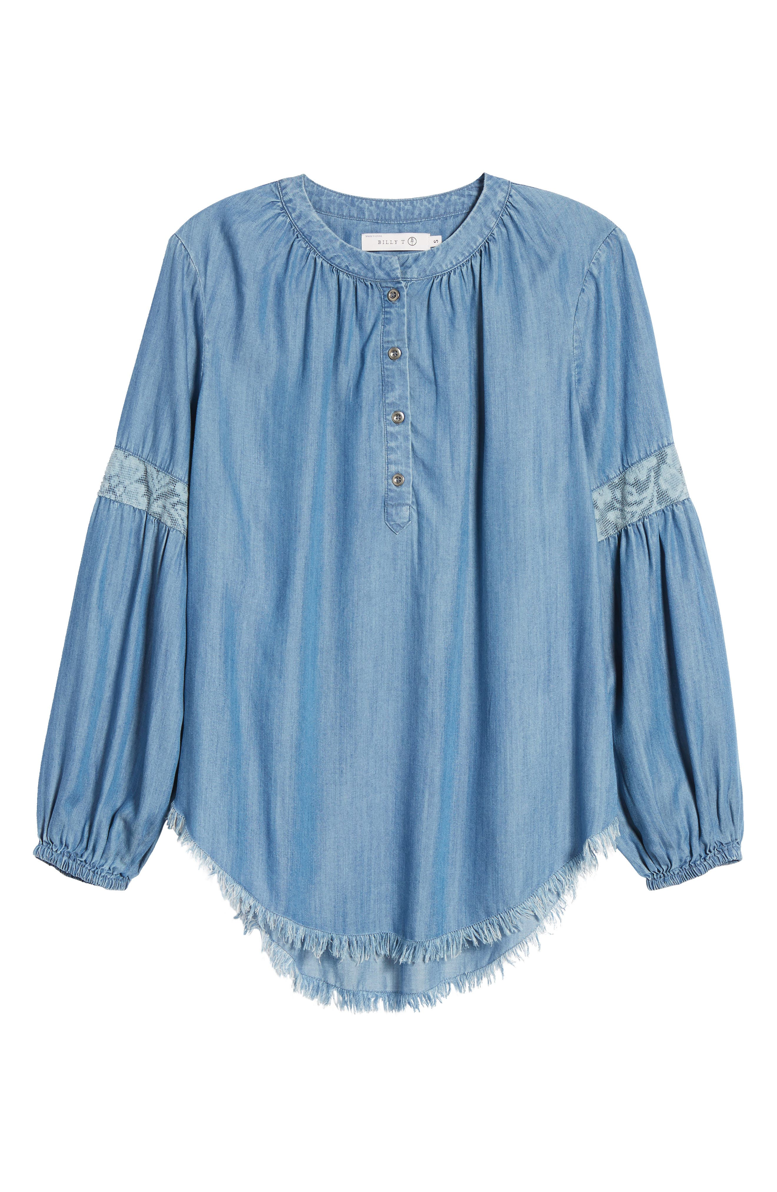Alternate Image 1 Selected - Billy T Frayed Hem Chambray Top