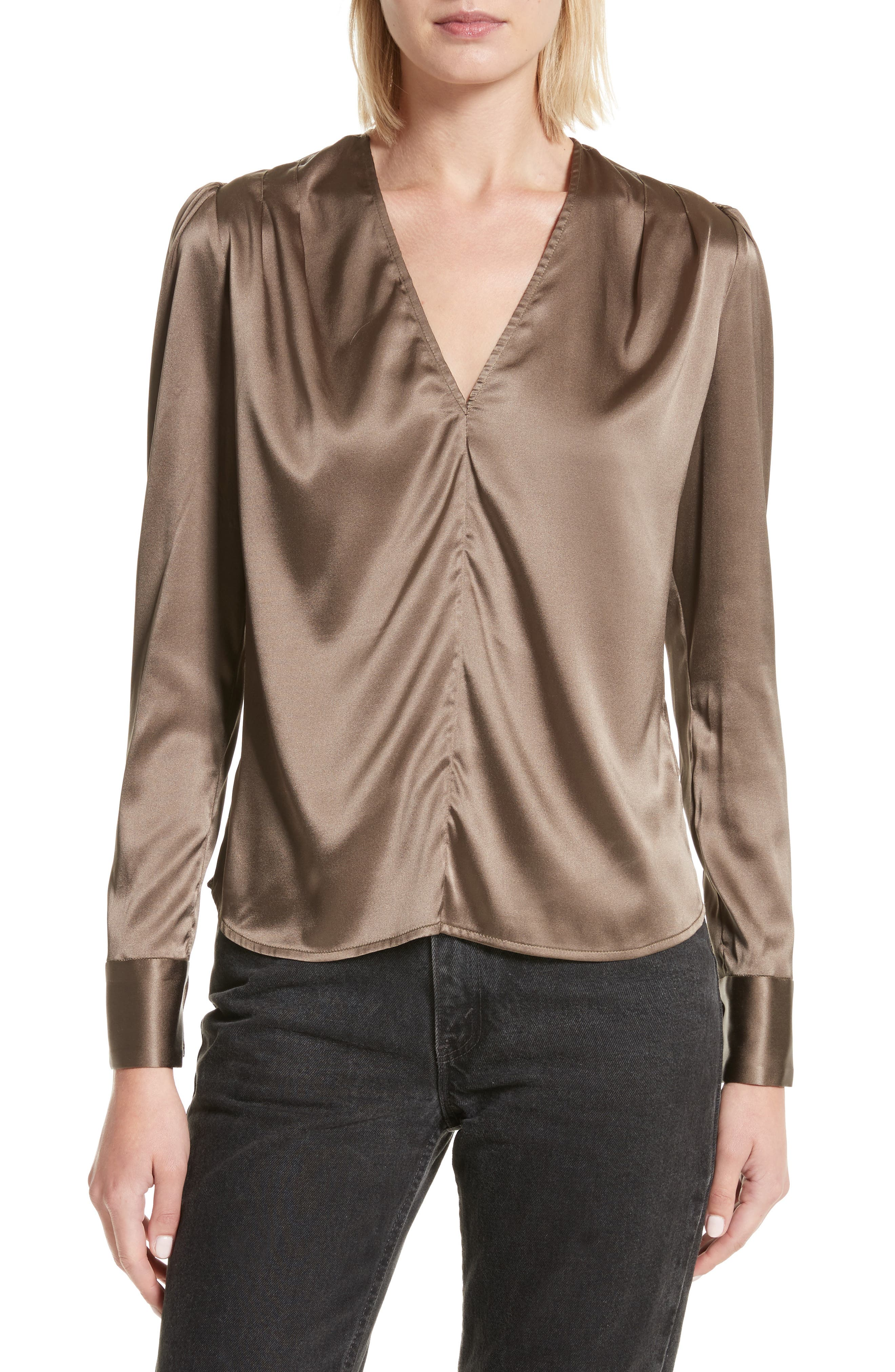 Shield Silk Blouse,                             Main thumbnail 1, color,                             Khaki