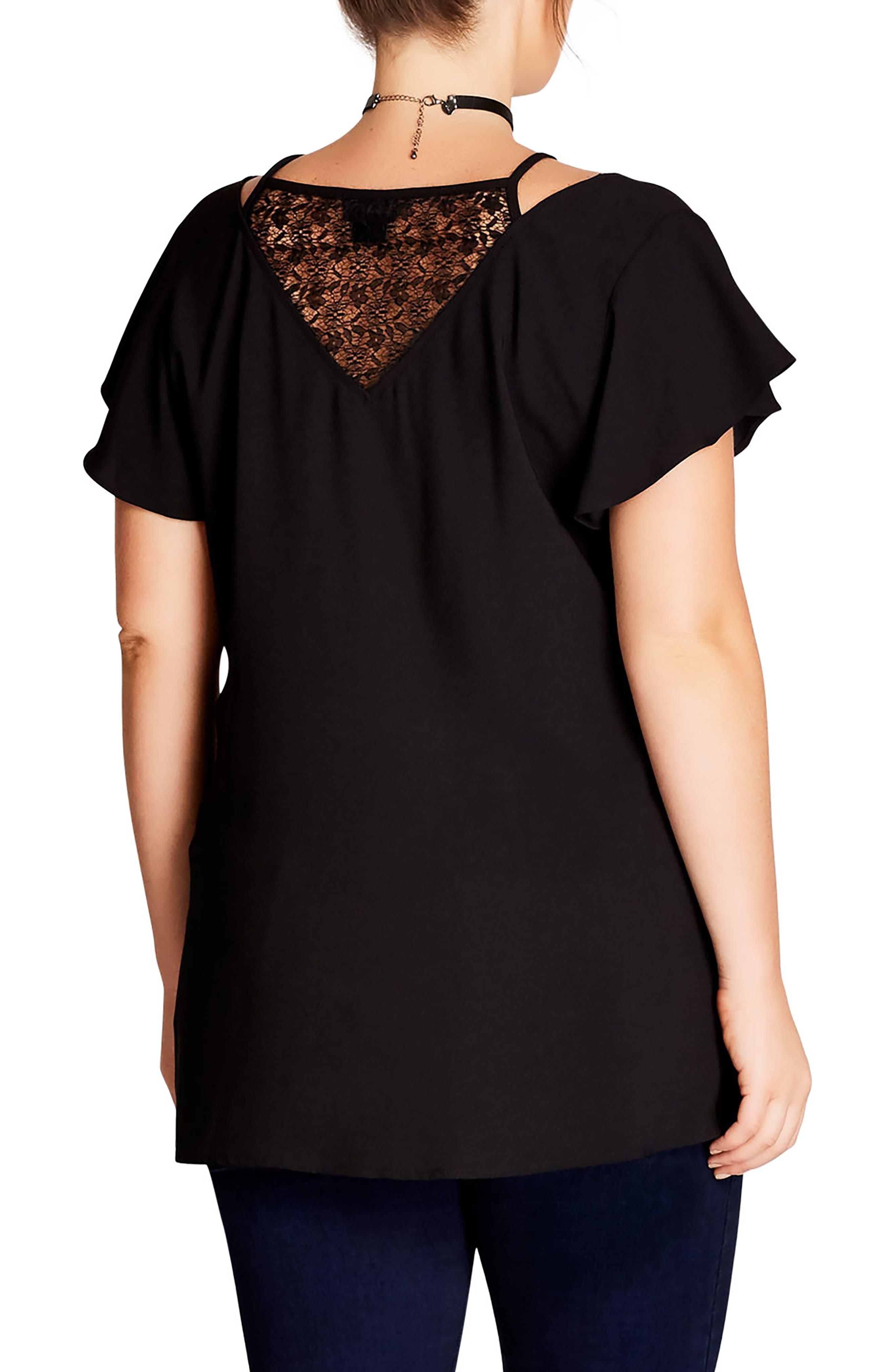 Alternate Image 2  - City Chic Lace Inset Top (Plus Size)