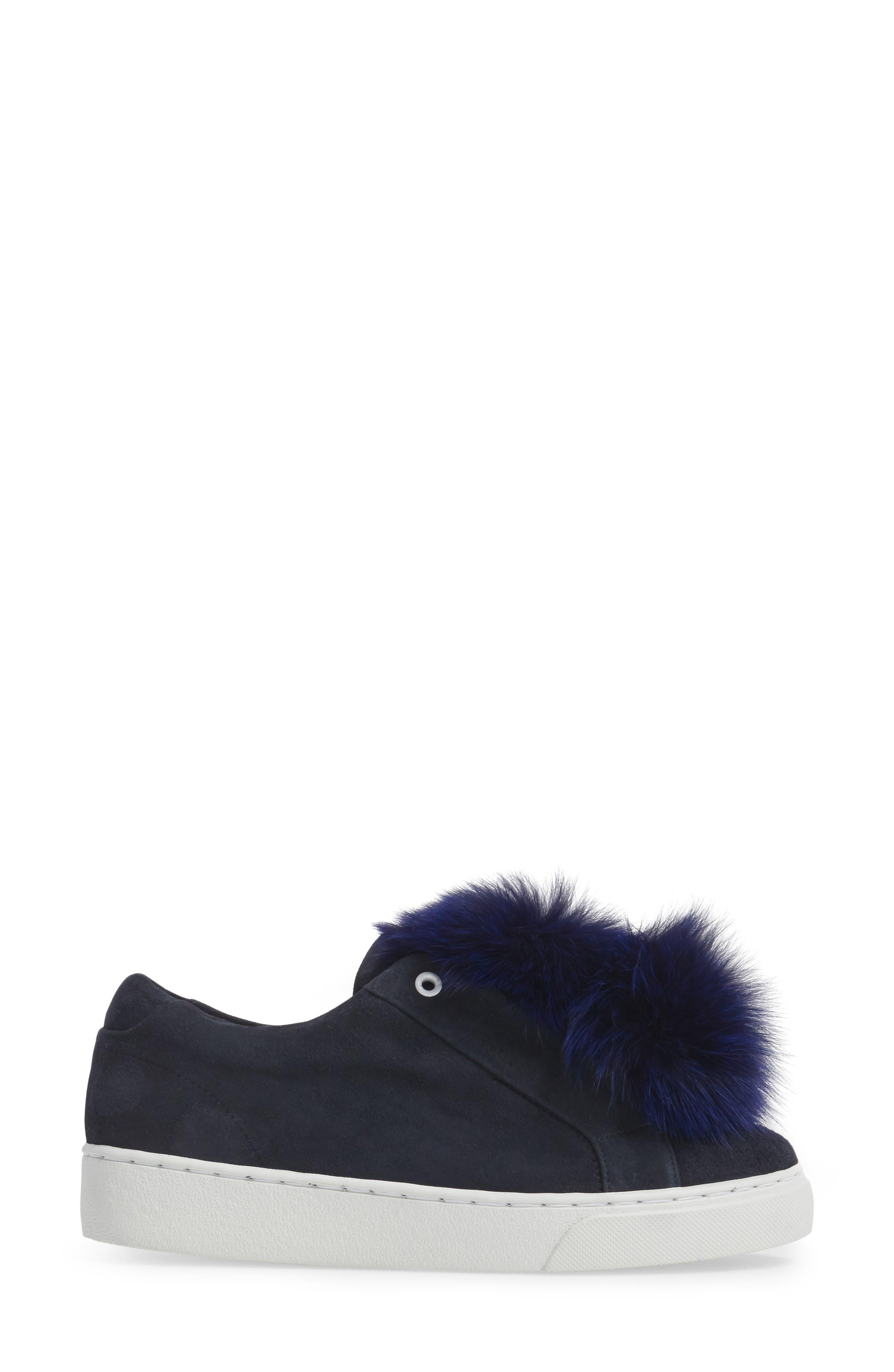 T Genuine Fox Fur Slip-On Sneaker,                             Alternate thumbnail 3, color,                             Navy Suede