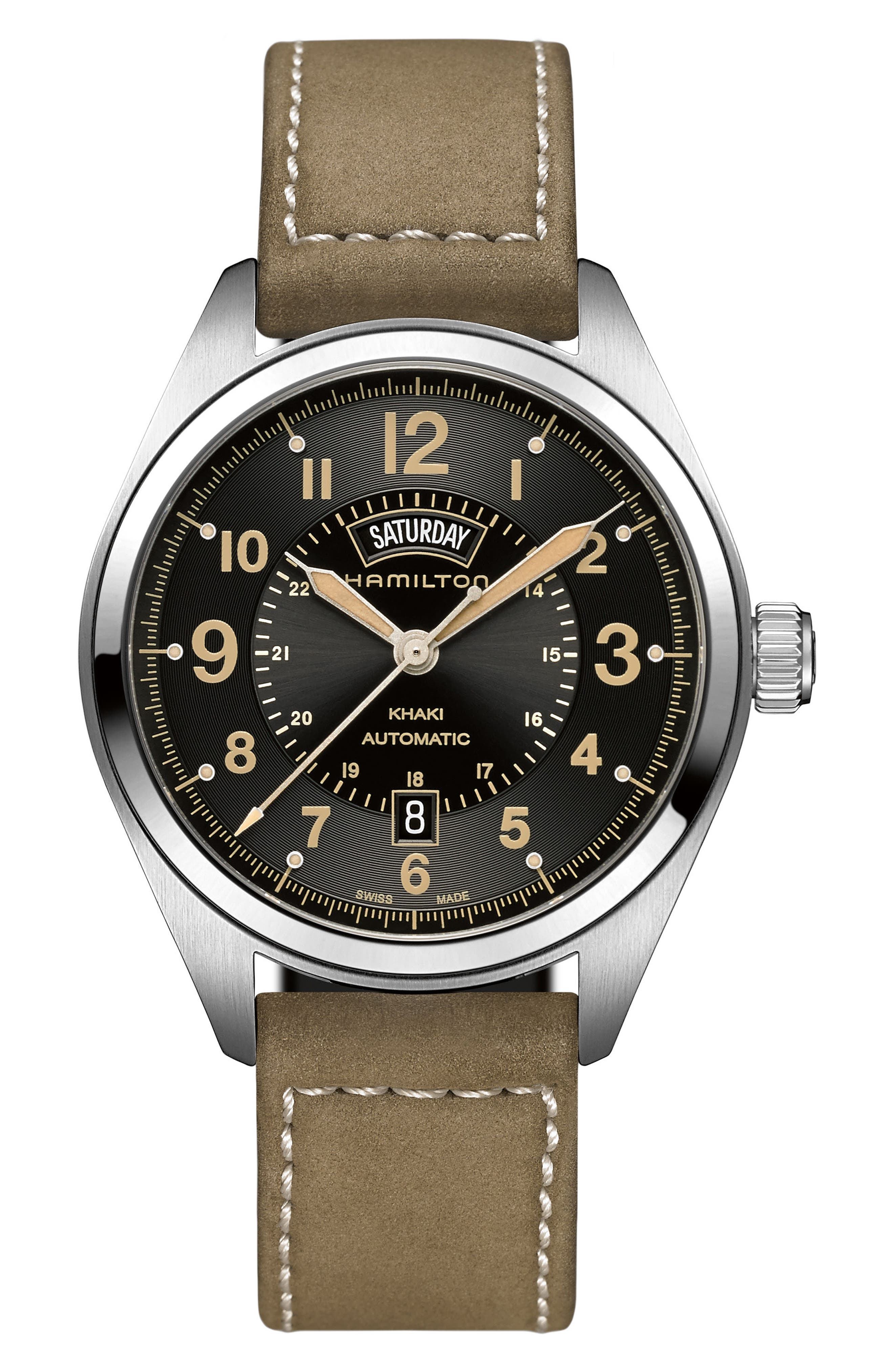 Alternate Image 1 Selected - Hamilton Khaki Field Automatic Leather Strap Watch, 42mm