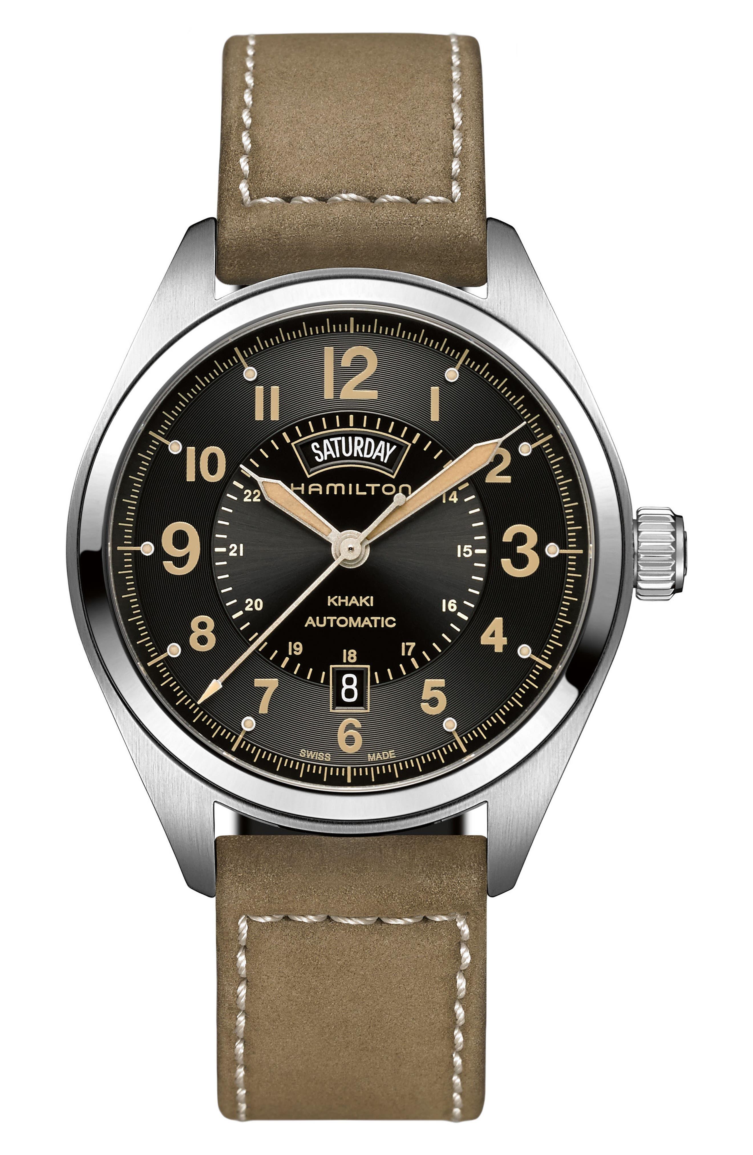 Main Image - Hamilton Khaki Field Automatic Leather Strap Watch, 42mm
