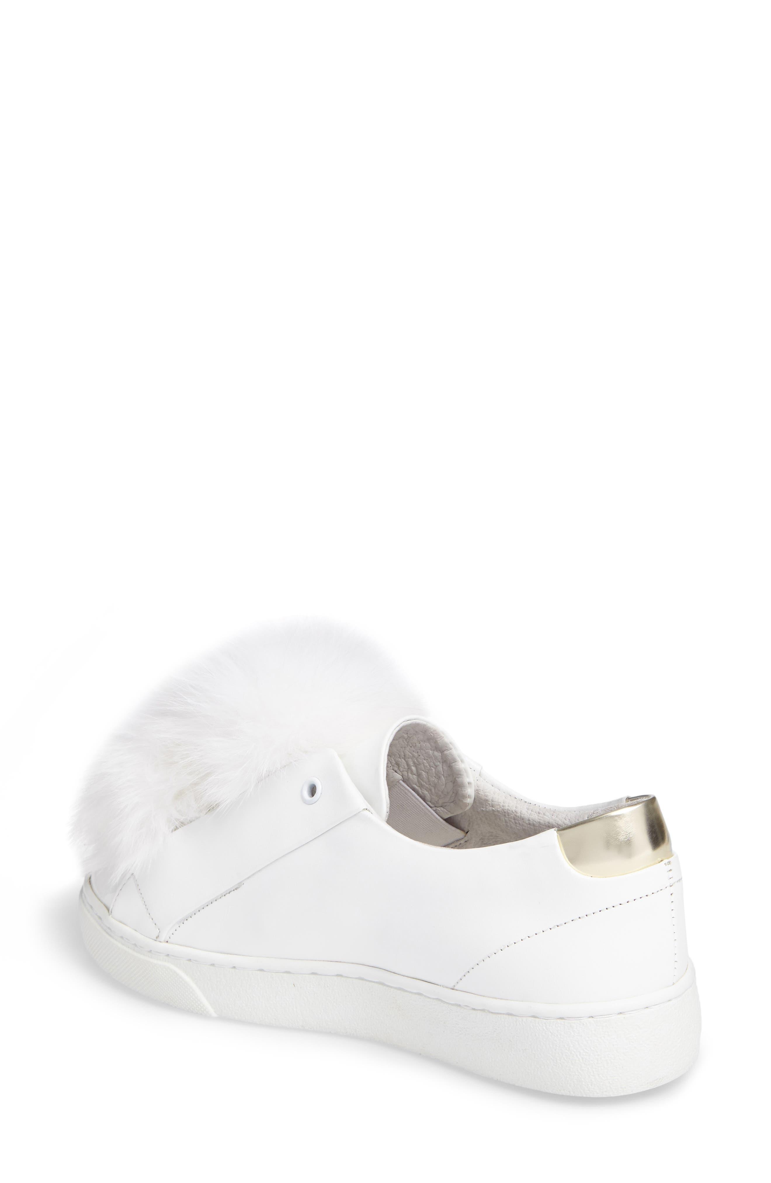 Sugar Genuine Fox Fur Slip-On Sneaker,                             Alternate thumbnail 2, color,                             White Leather