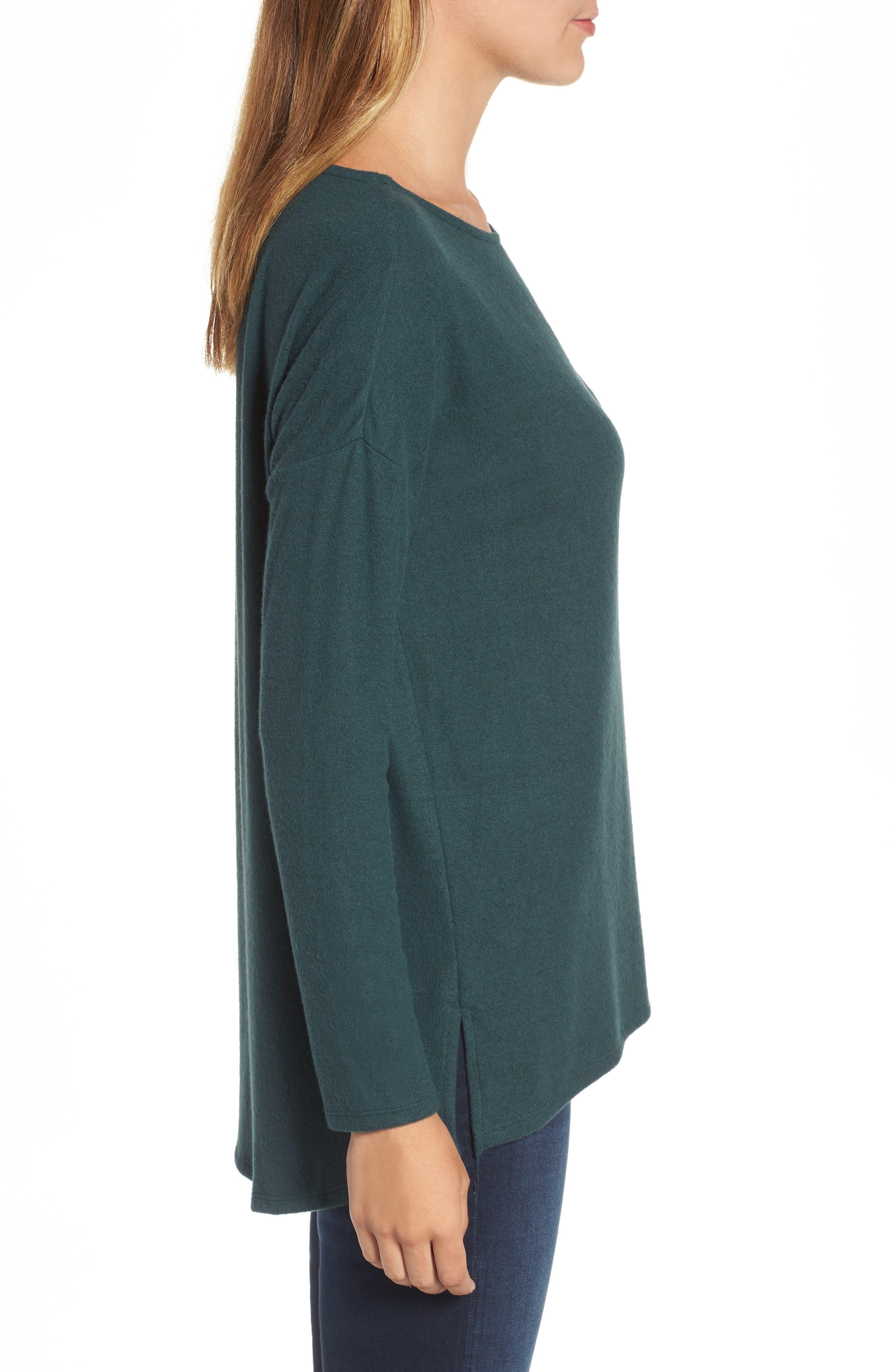 Cozy Ballet Neck High/Low Pullover,                             Alternate thumbnail 3, color,                             Green Gables